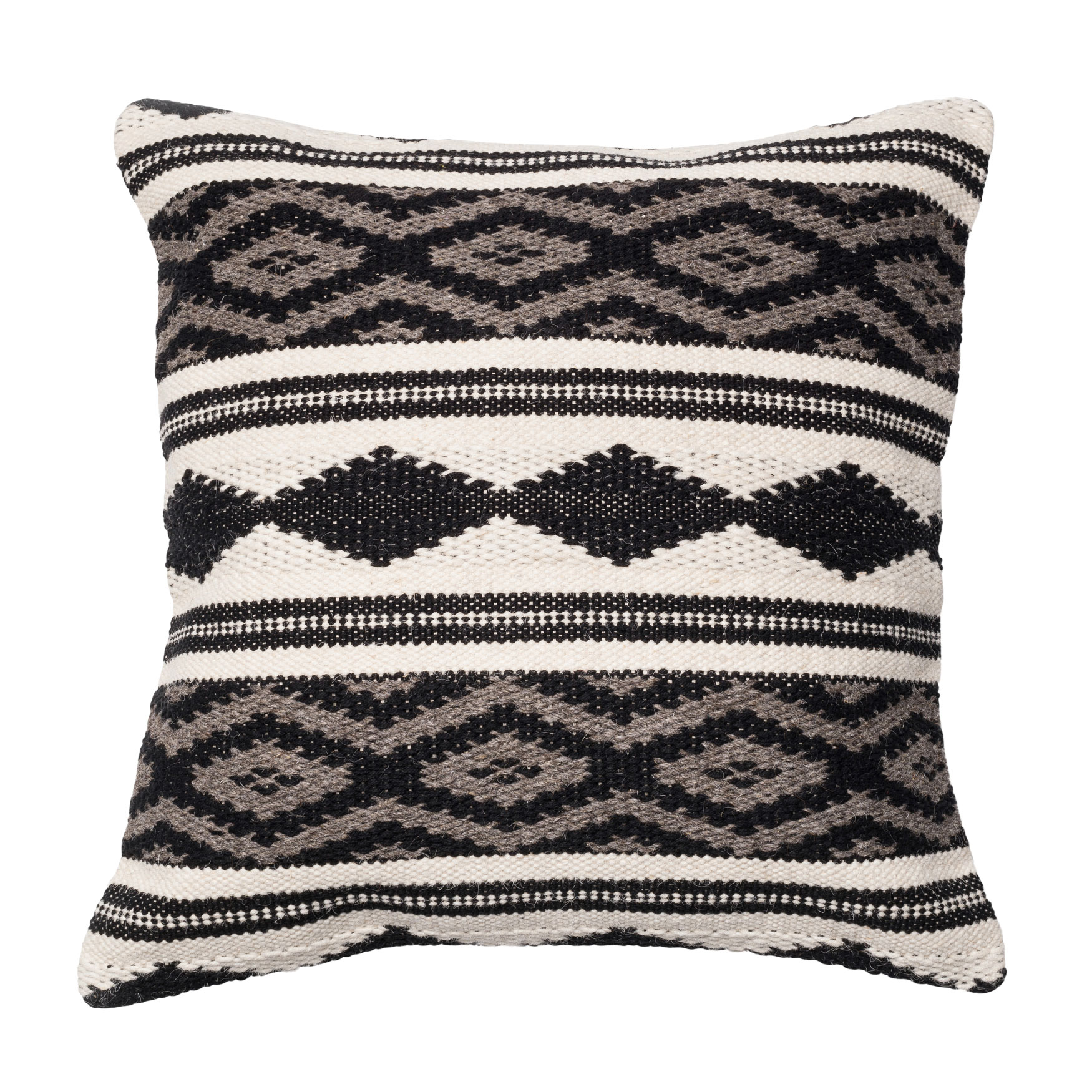 Monochromatic Aztec Inspired Woven Pillow, GREY MULTI