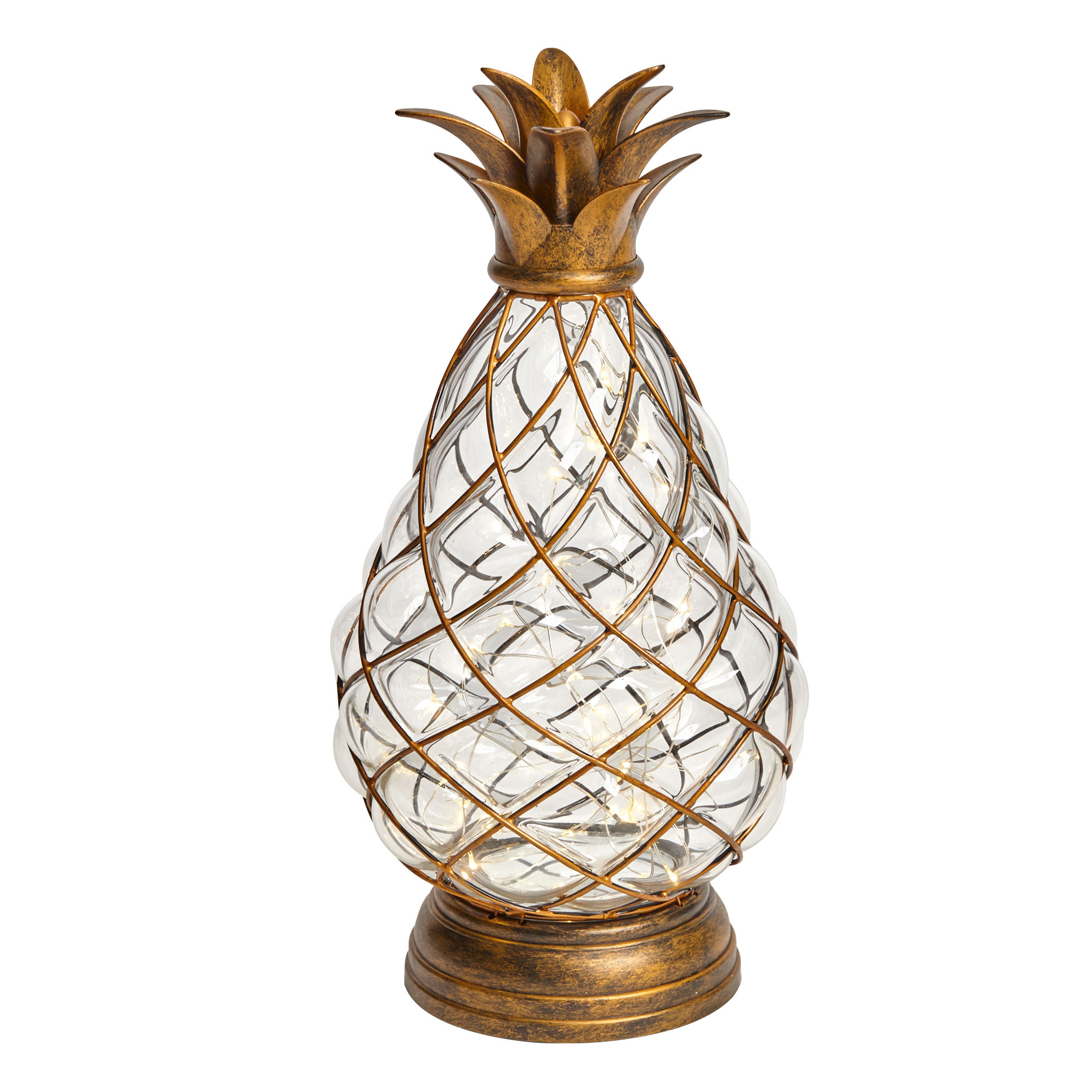 Large Glass Pineapple Light, BRONZE