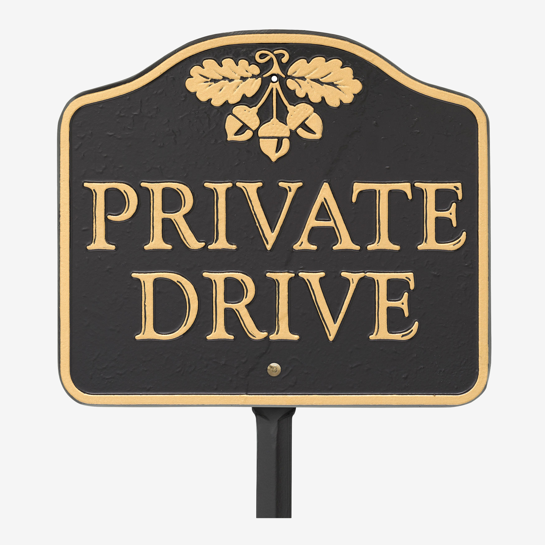 Private Drive Sign, BLACK GOLD