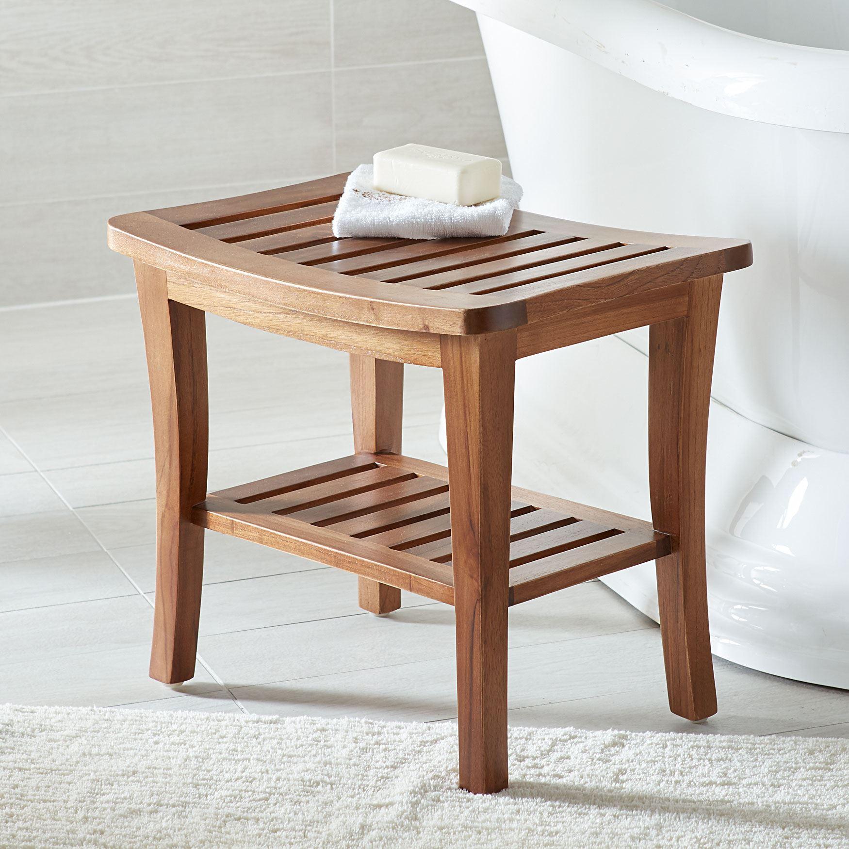 Teak Wood Bath Seat Bench | Bathroom Storage | Brylane Home