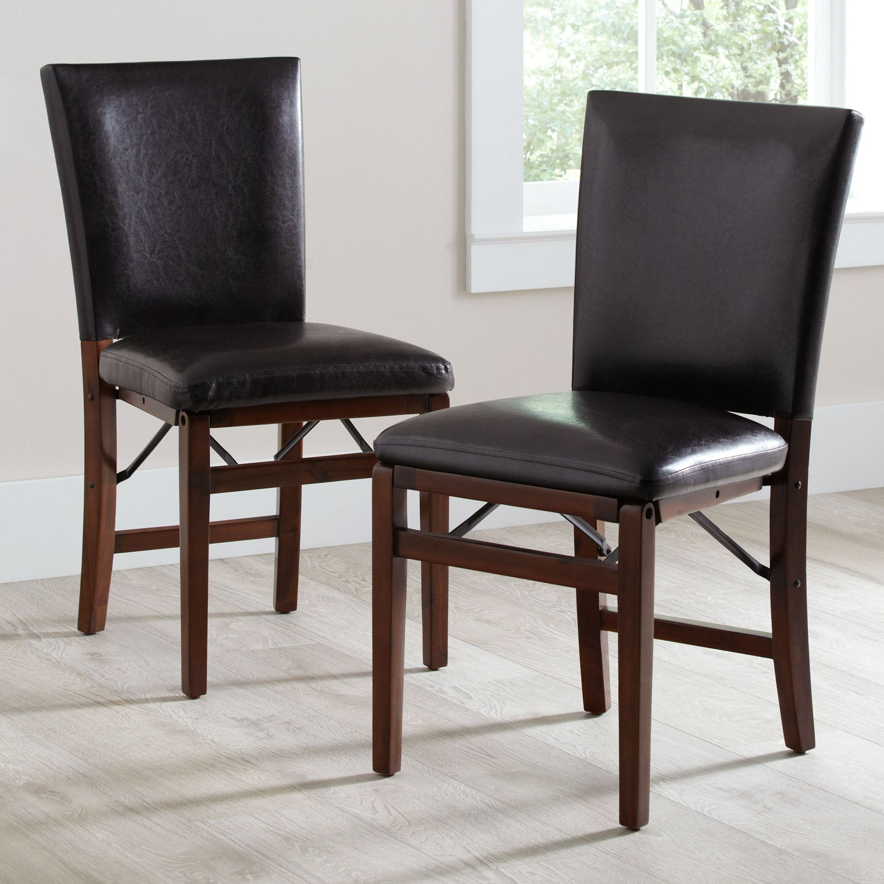 Parsons Folding Chairs, Set of 2, BROWN