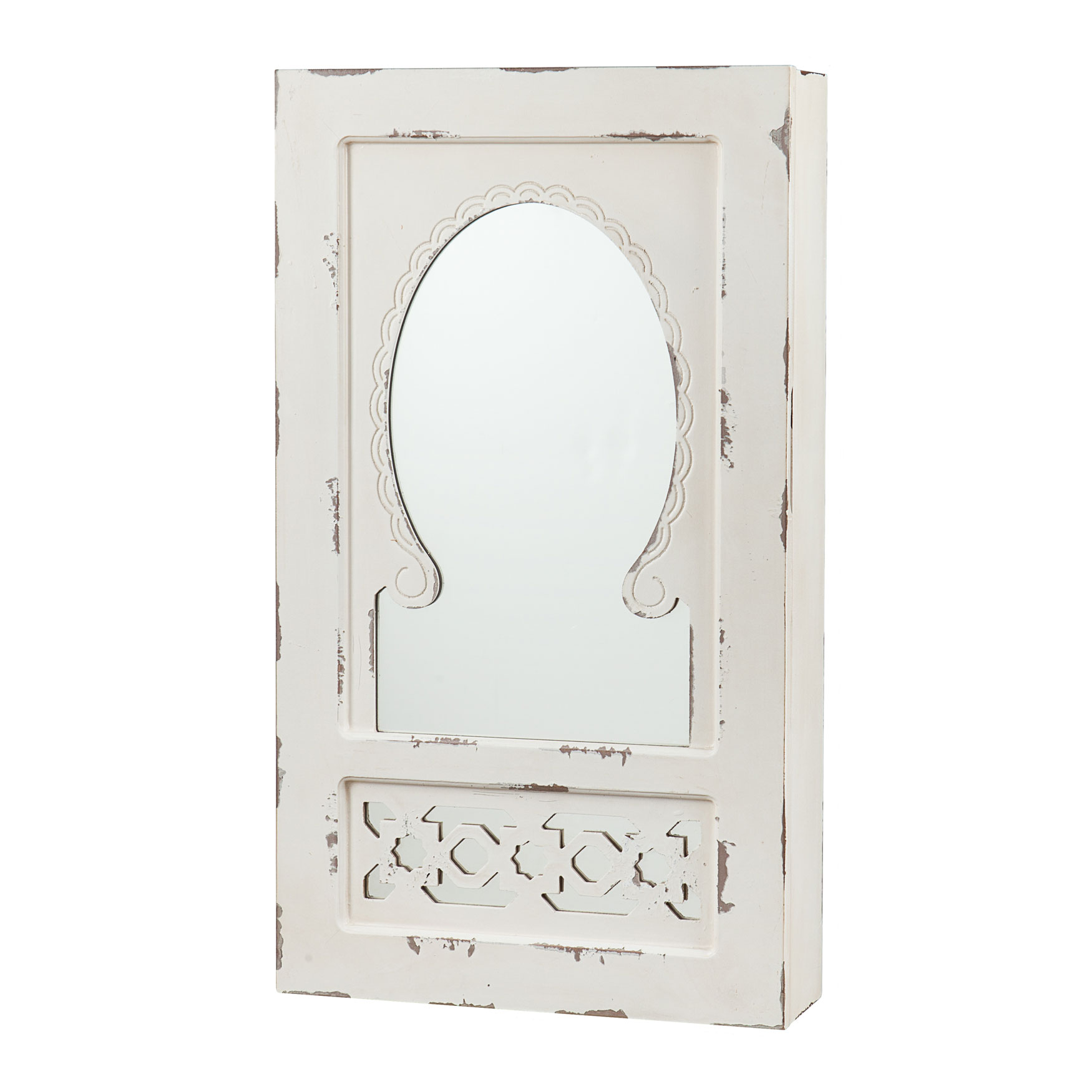 Shabby Chic Wall Mount Jewelry Mirror, ANTIQUE WHITE