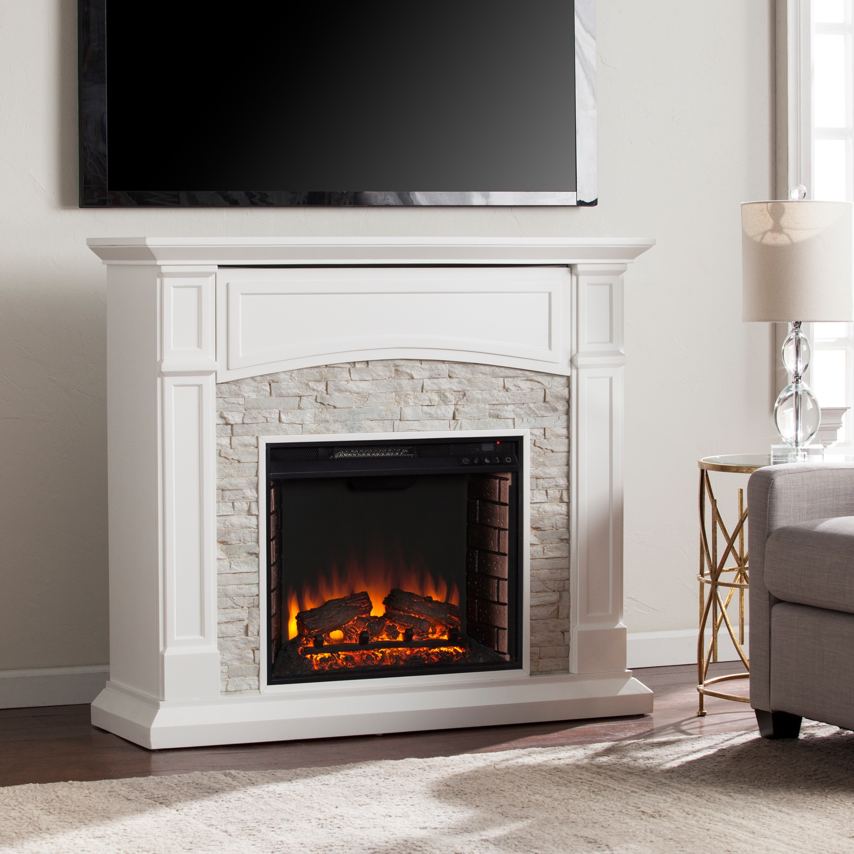 Seneca Electric Media Fireplace, WHITE