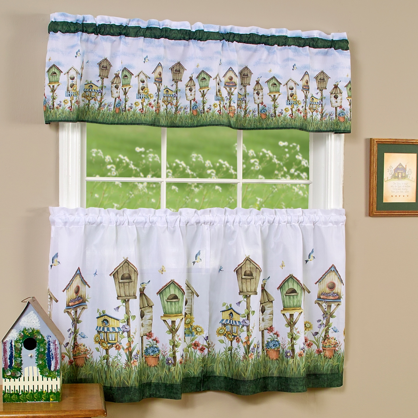 Home Sweet Home Tier and Valance Window Curtain Set,