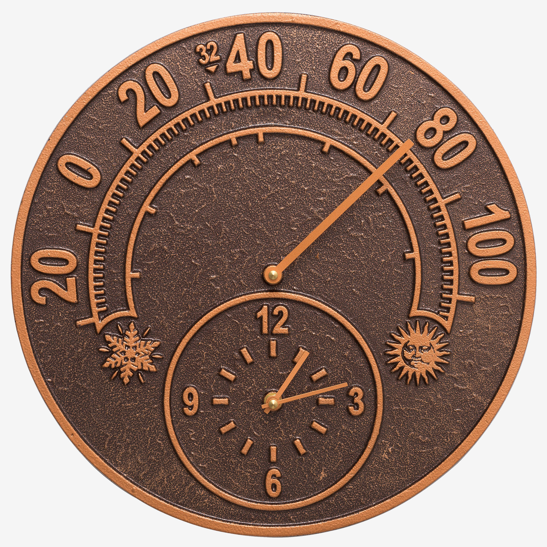 "14"" Solstice Clock And Thermometer, ANTIQUE COPPER"