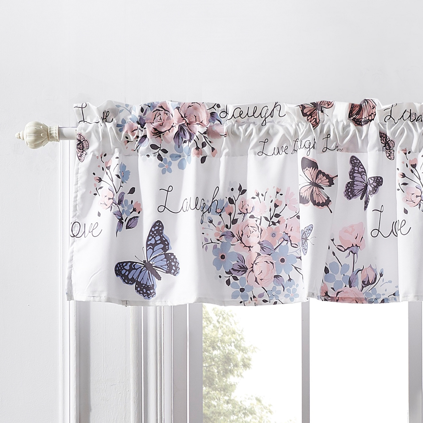 Barefoot Bungalow Garden Joy Window Valance, WHITE