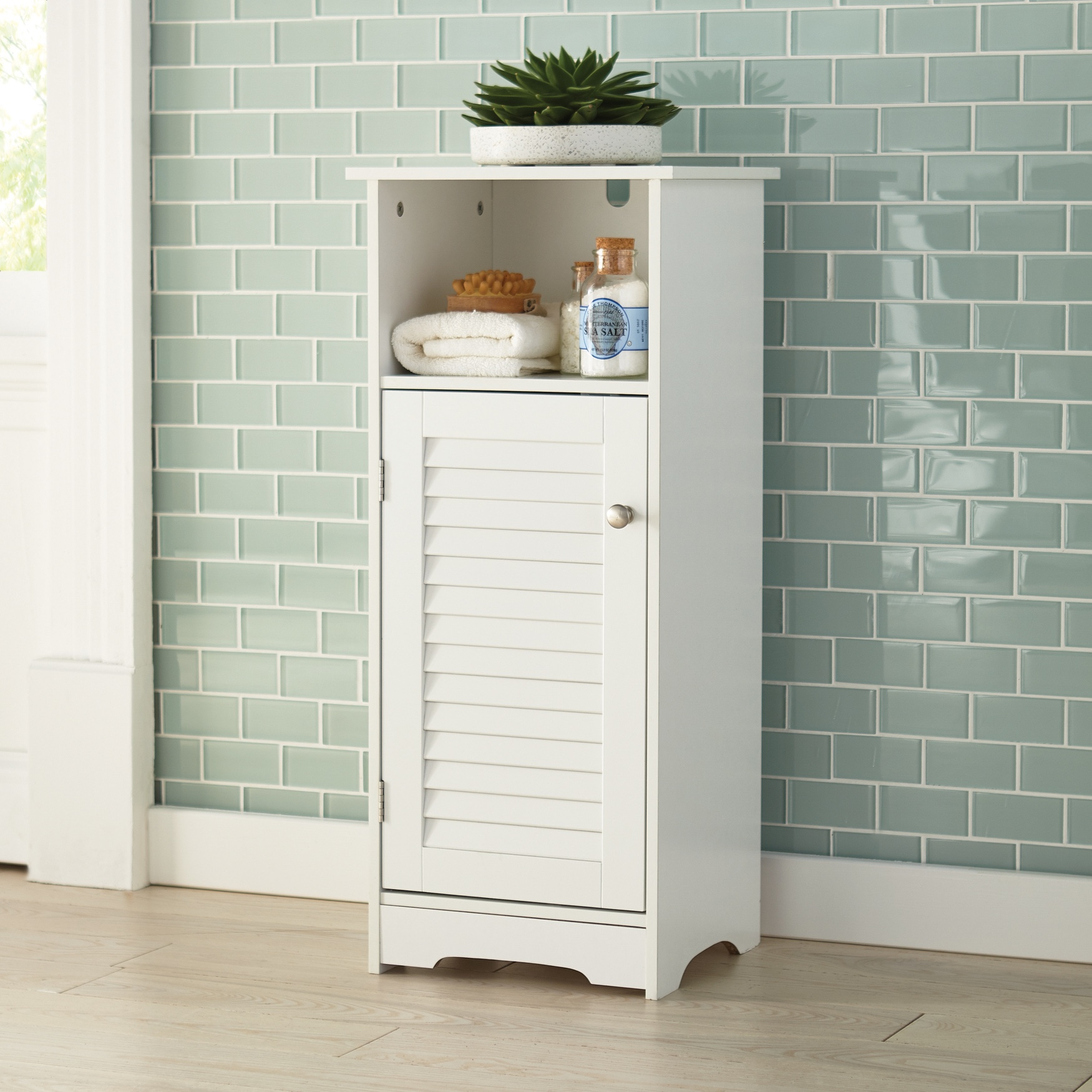 Louvre Short Cabinet with Cubby, WHITE