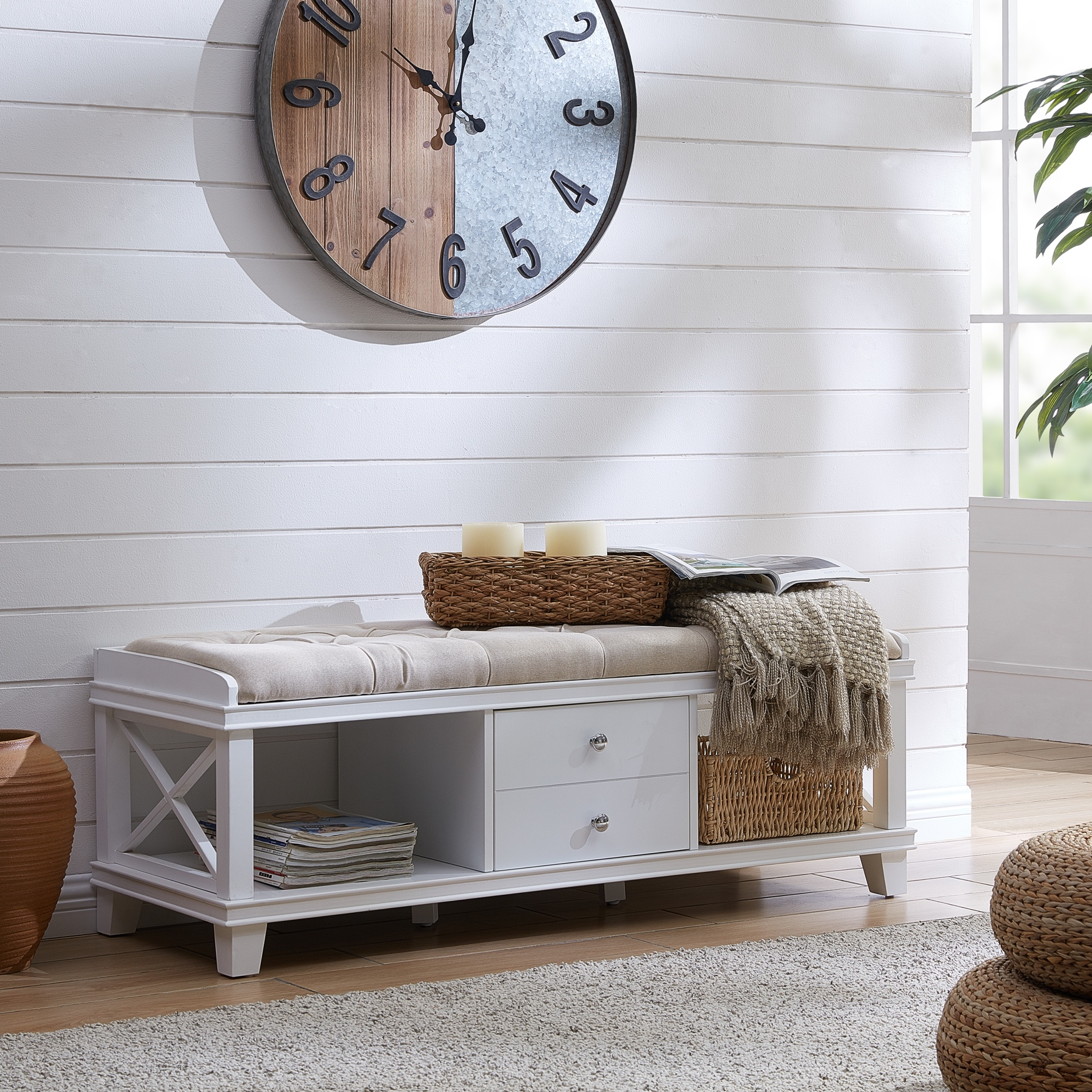Wyndcliff White Upholstered Storage Bench, WHITE