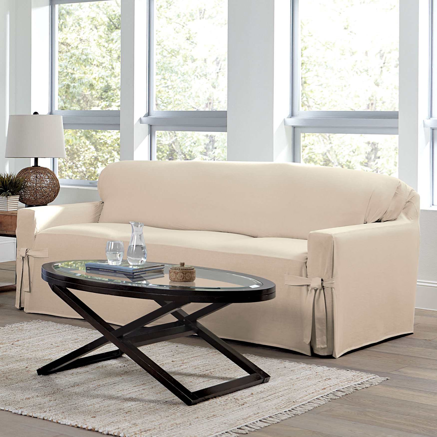 Mix & Match Solid Cotton Sofa Slipcover , NATURAL