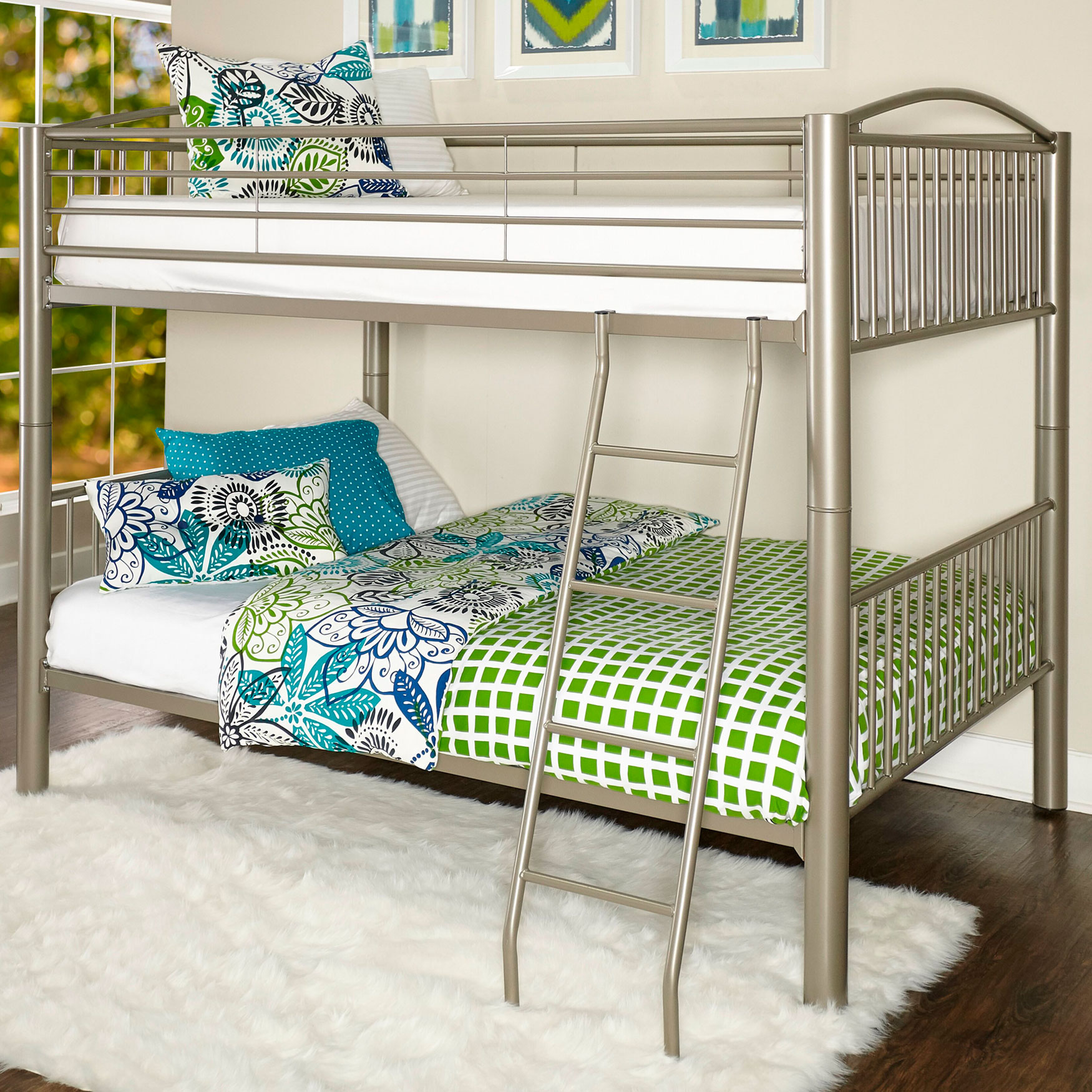 "Heavy Metal ""Pewter"" Full Over Full Bunk Bed, PEWTER"