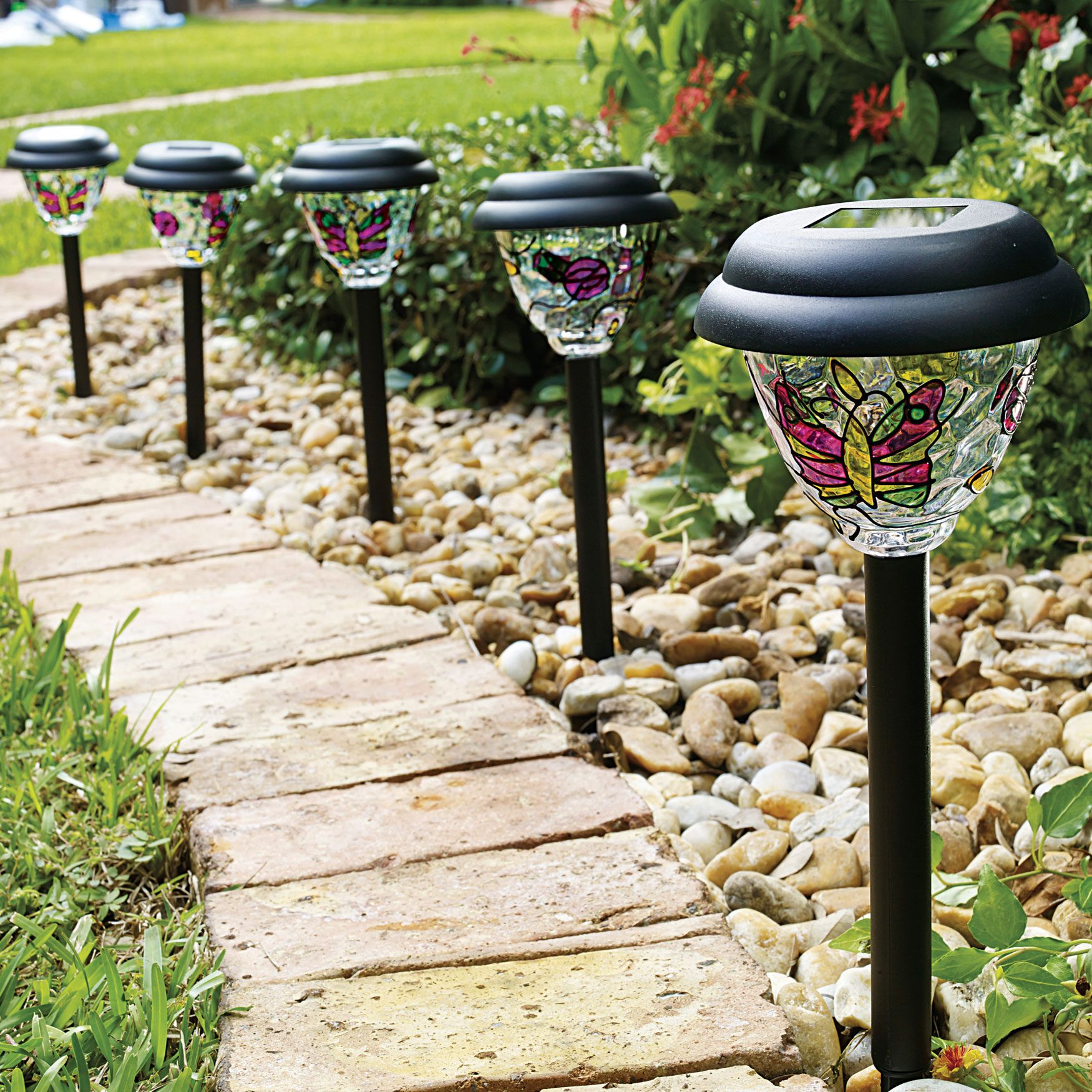 Tiffany Style Solar Stake Lights, Set of 5, MULTI