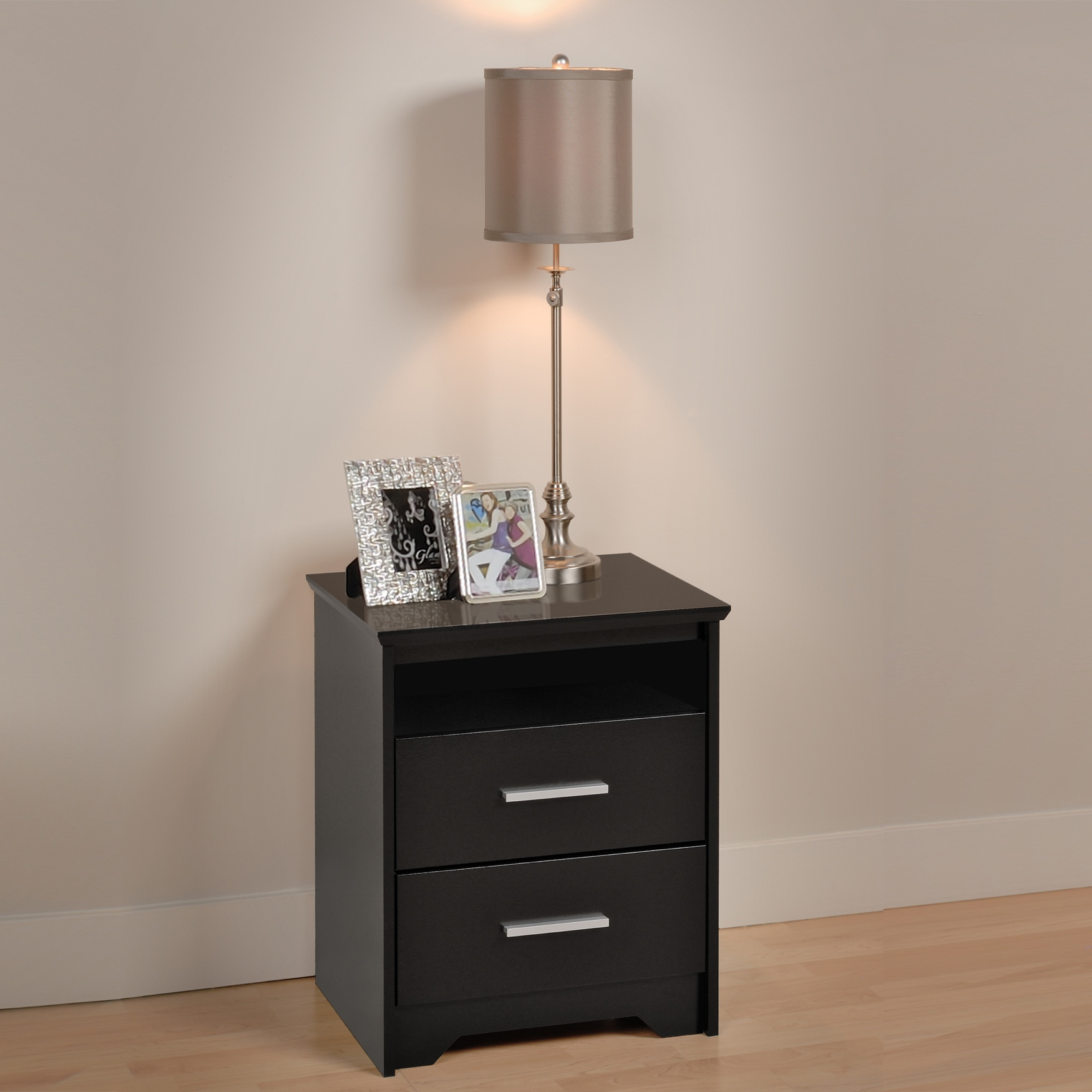 Coal Harbor 2-Drawer Tall Nightstand with Open Shelf, Black, BLACK
