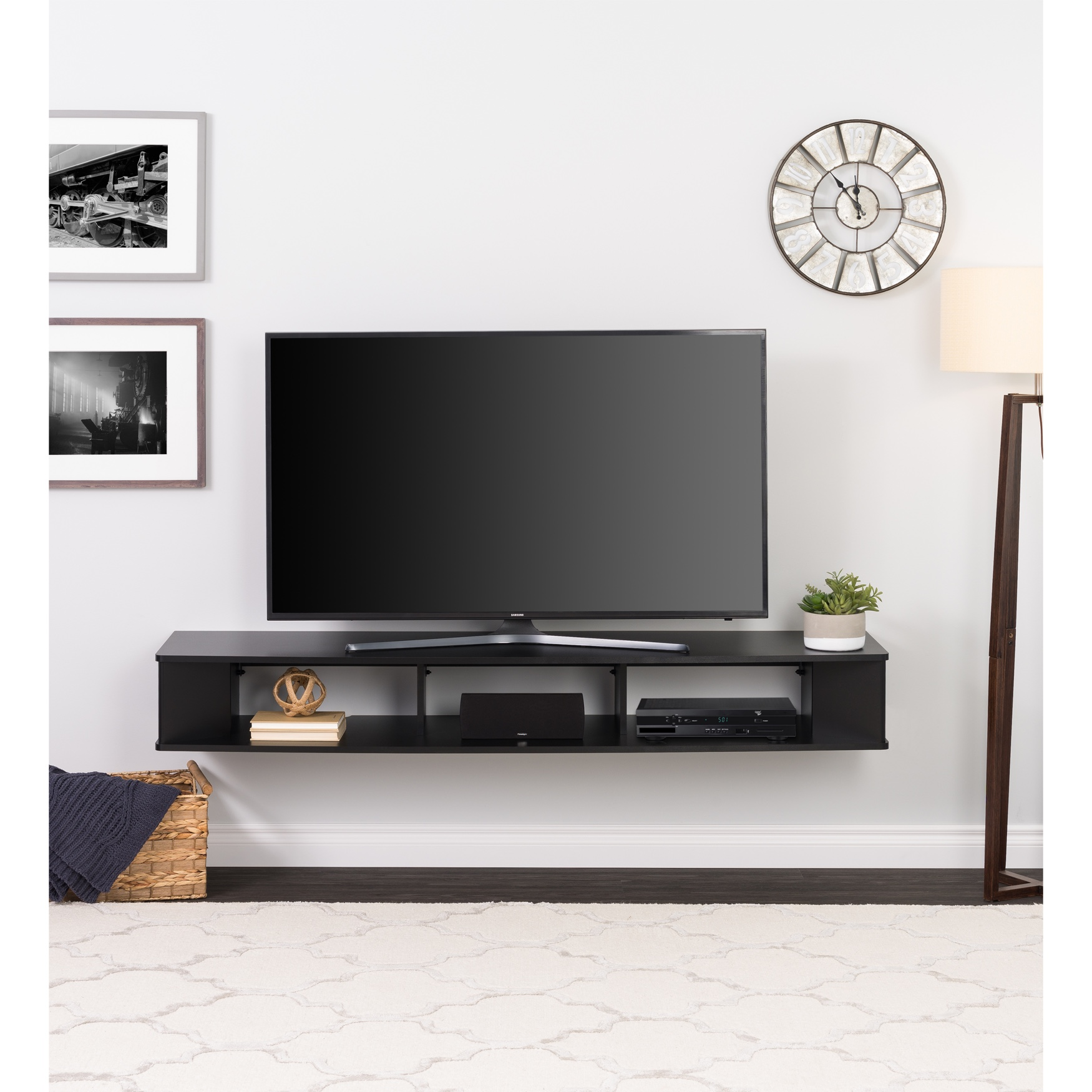 "70"" Wide Wall Mounted TV Stand, Black, BLACK"