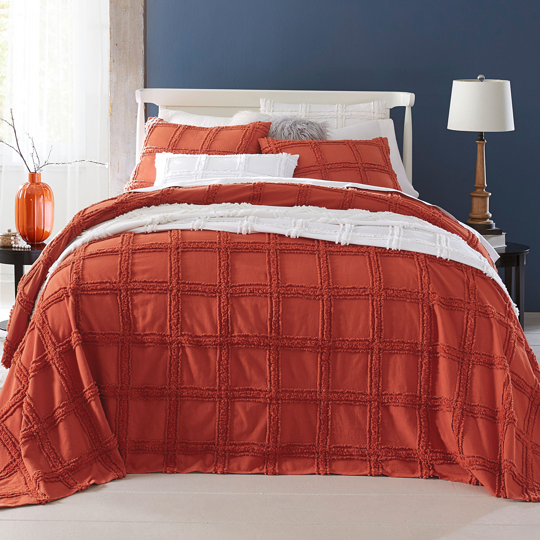 Window Pane Chenille Bedspread,