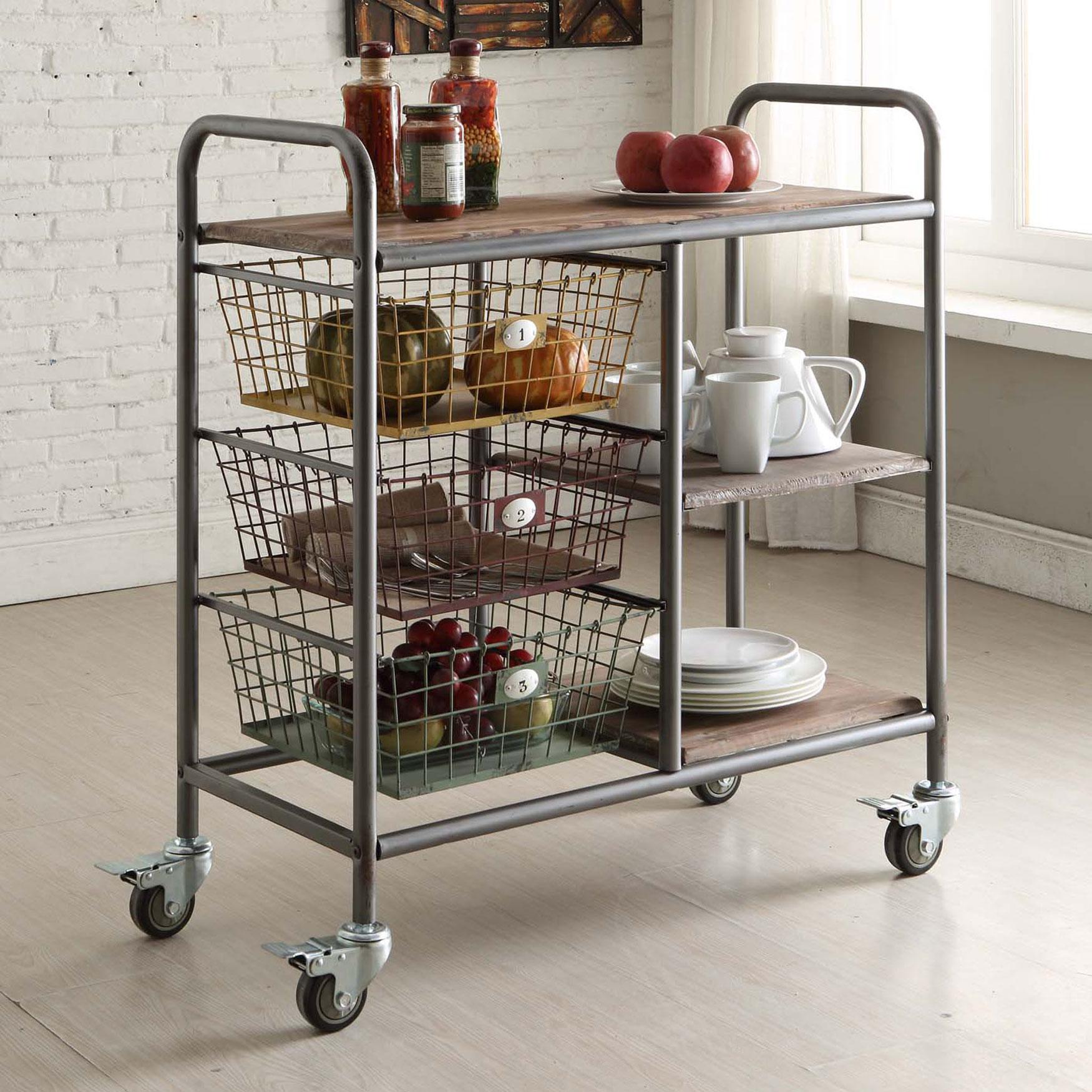 Kitchen Cart Black Gray