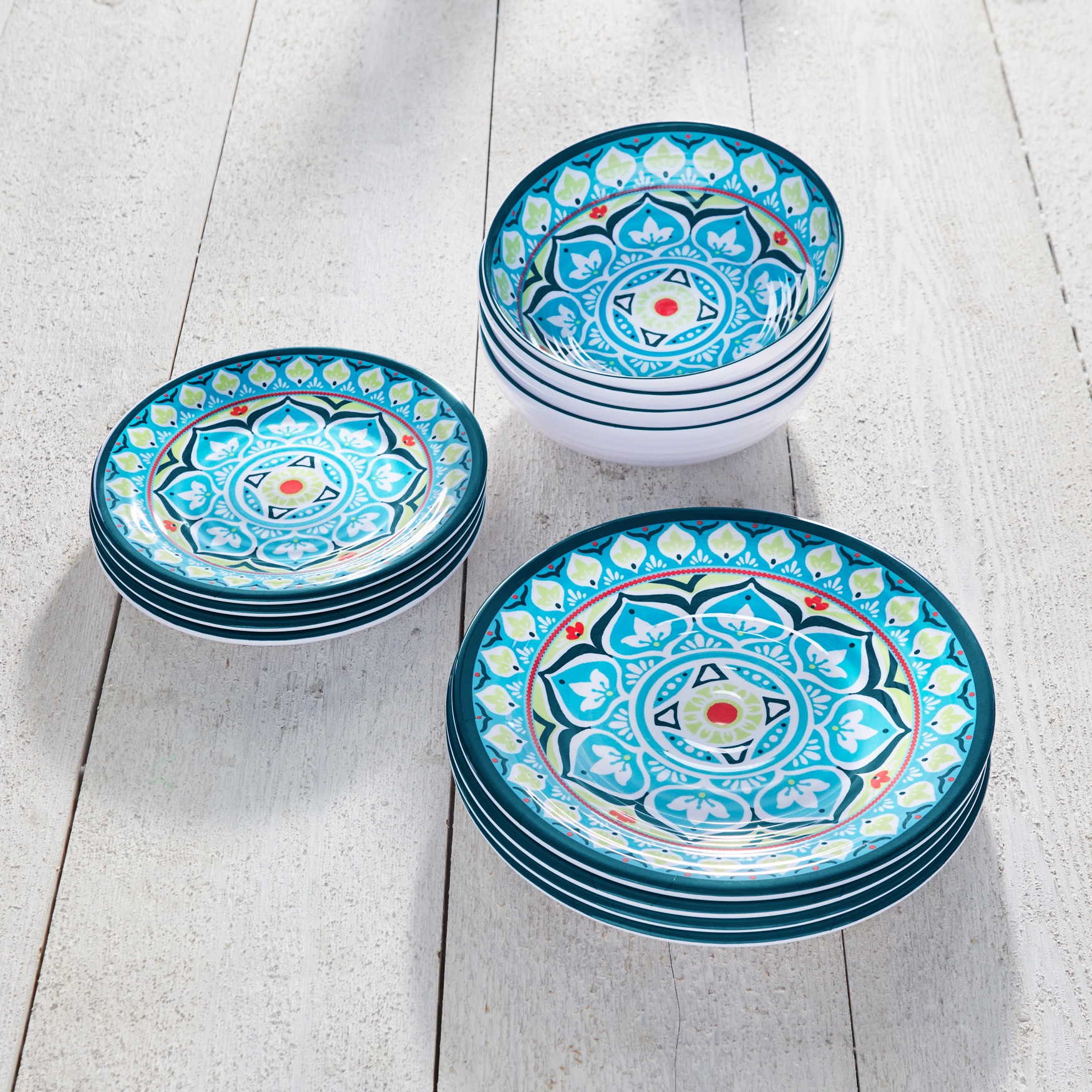 Melamine 12-Pc. Dinnerware Set, MULTI