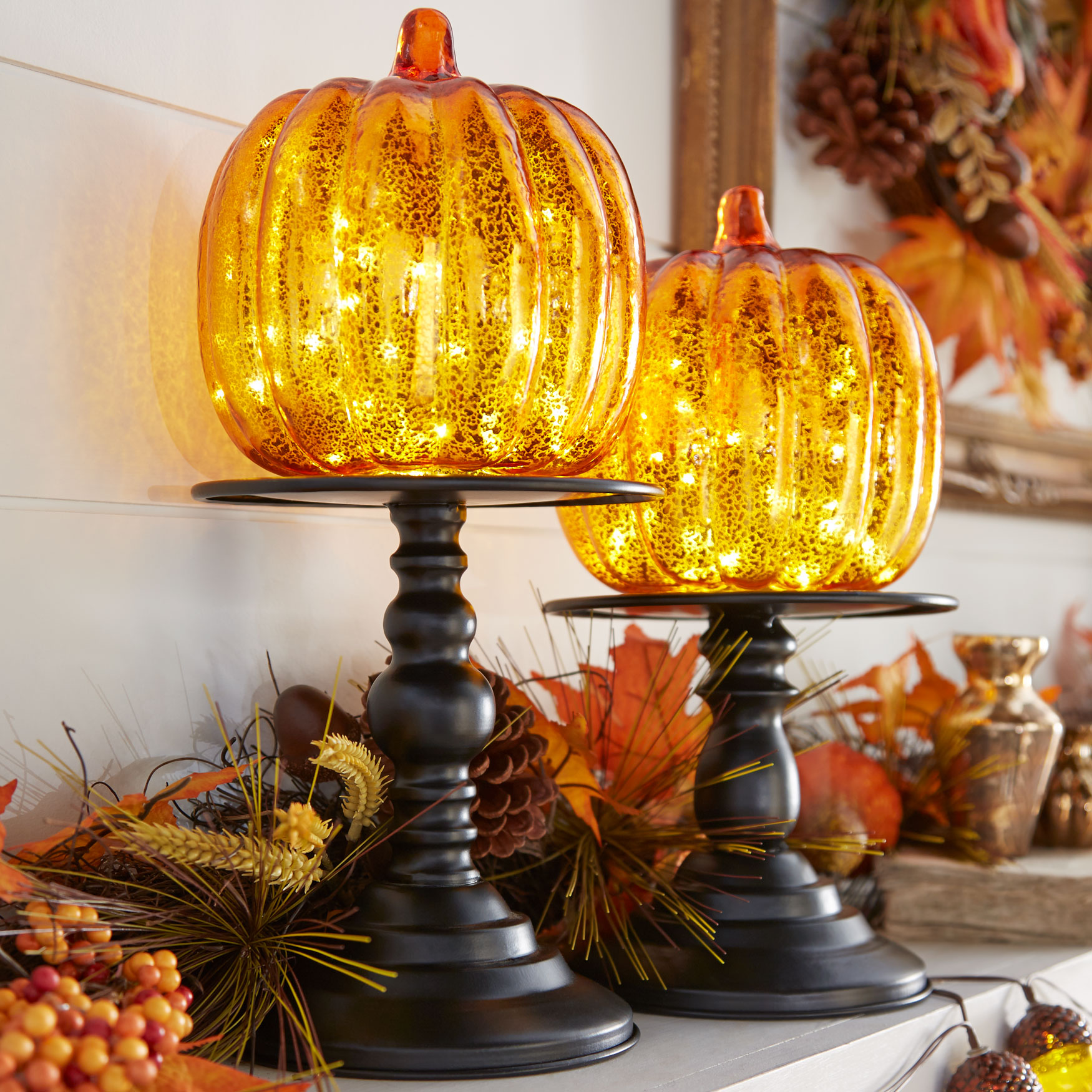 "14½"" Pre-Lit Glass Pumpkin on Metal Stand,"