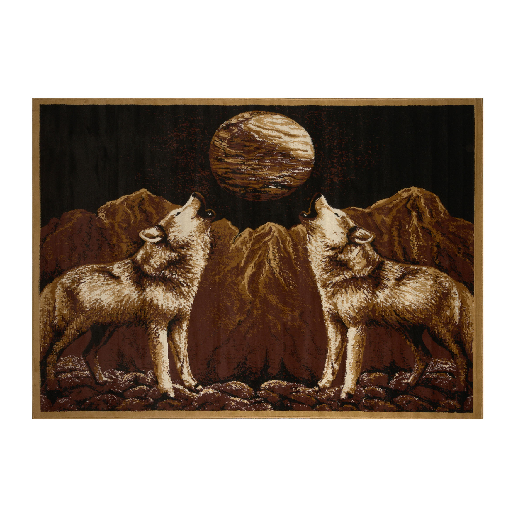 "Zone Wolves Rug, 5'2""x7'4"", EBONY"