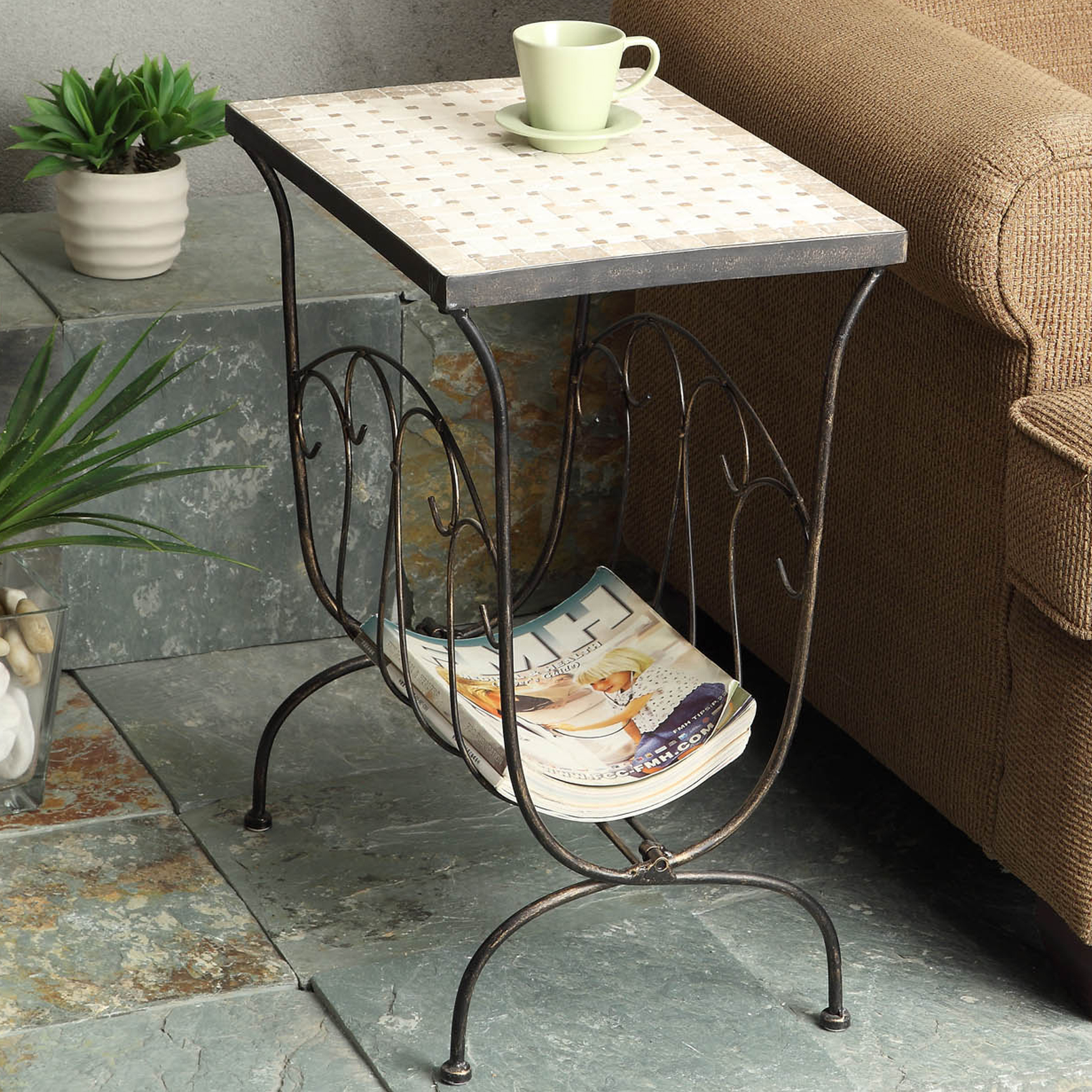 Travertine Magazine End Table, RUSTIC BRONZE