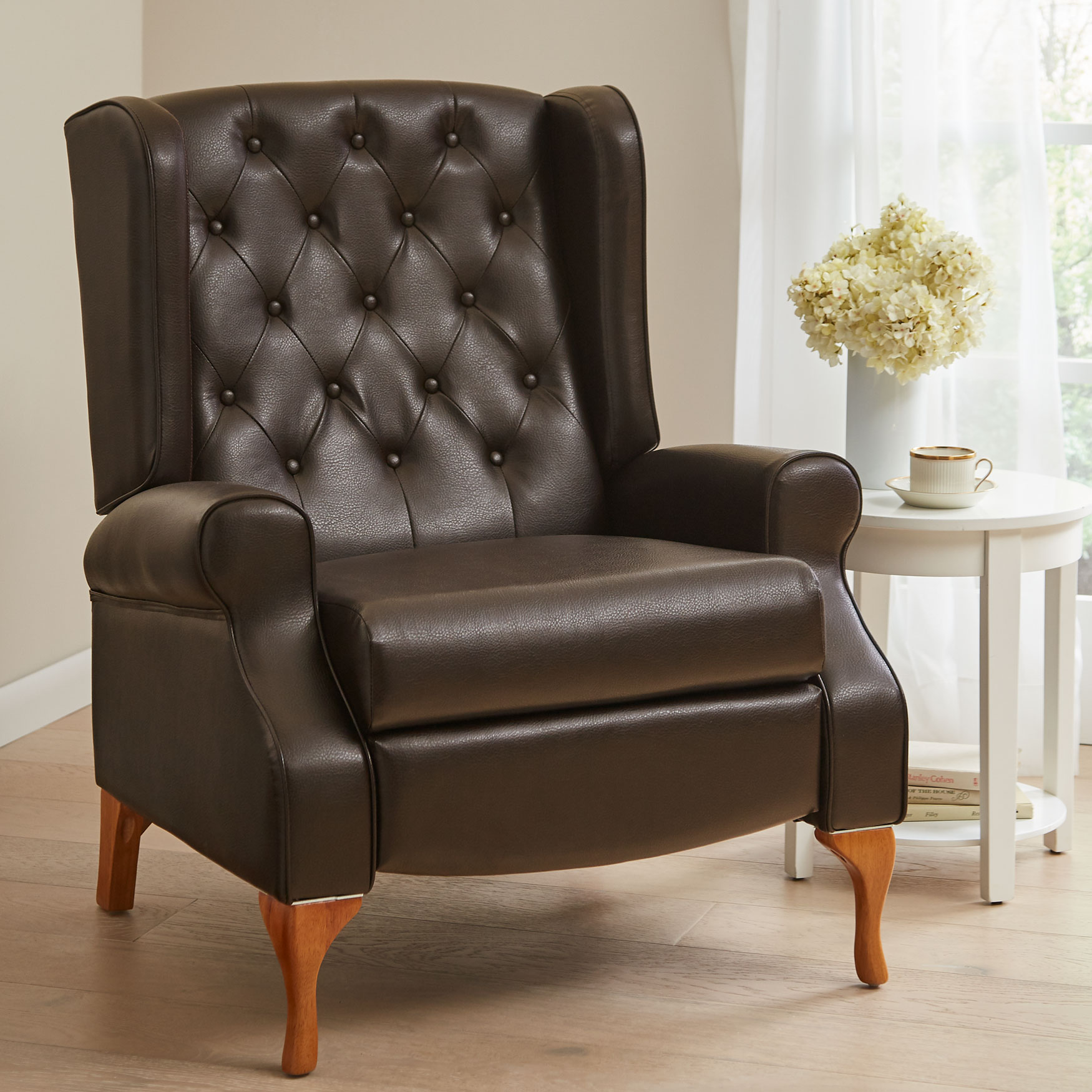 Queen Anne Style Tufted Wingback Recliner,