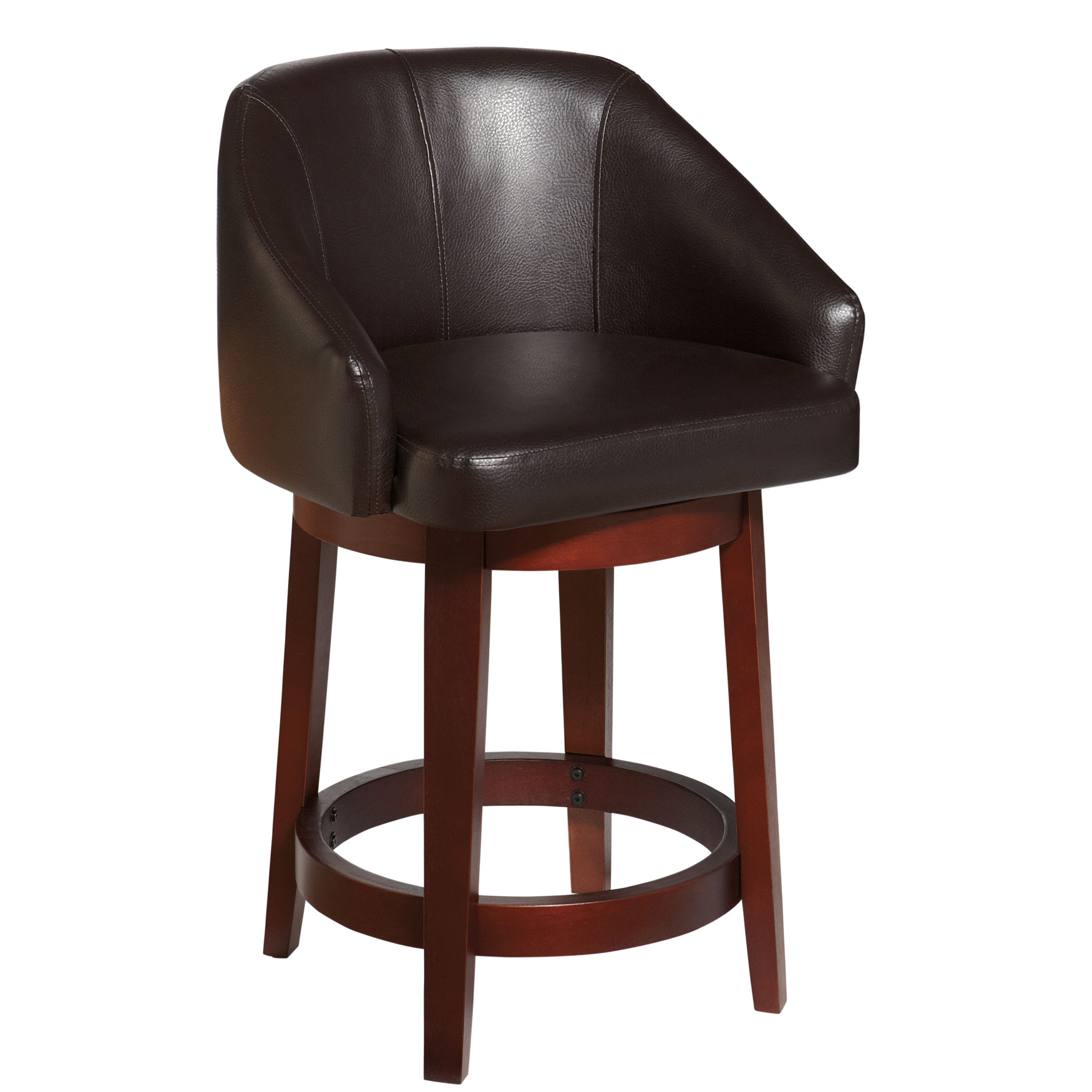 Nina Extra Wide Swivel Counter Stool, DARK BROWN
