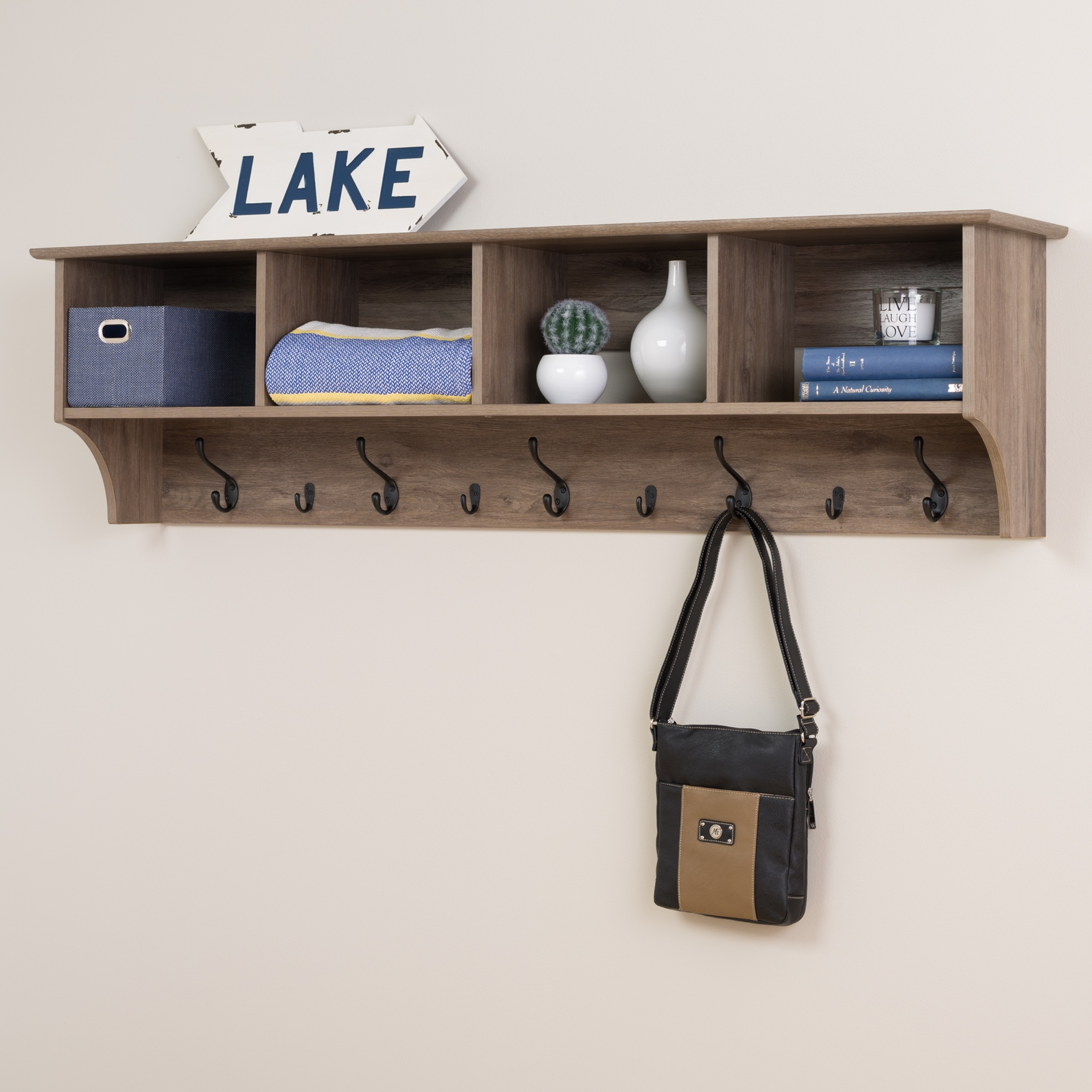 "60"" Wide Hanging Entryway Shelf,"