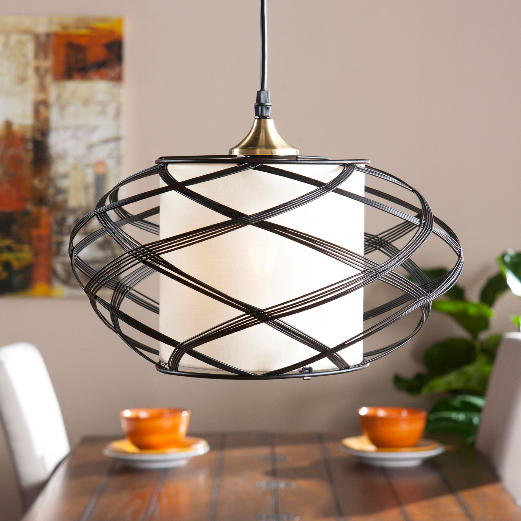 Oval Wire Swirl Pendant Lamp, BLACK IVORY