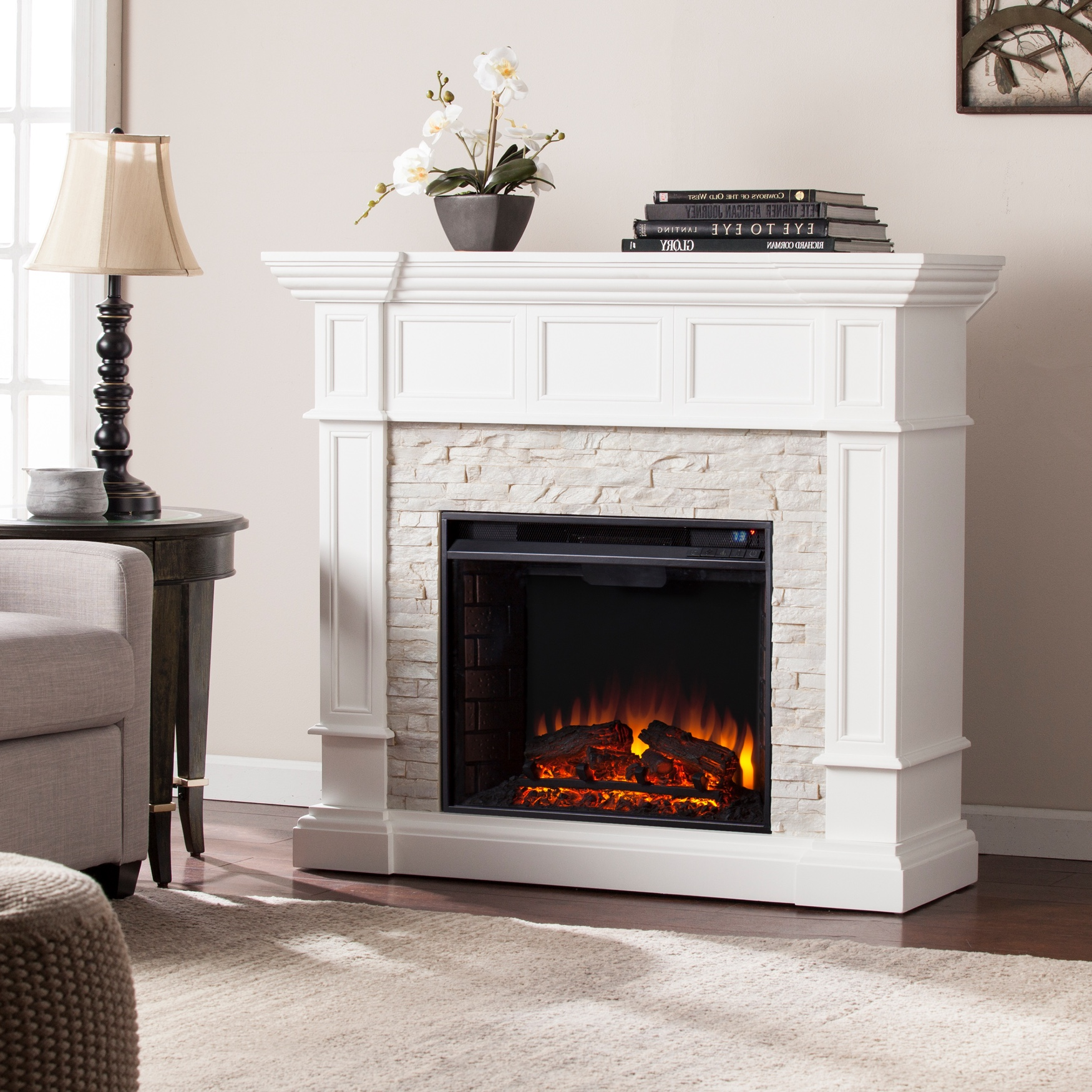 Merrimack Corner Convertible Electric Fireplace, WHITE