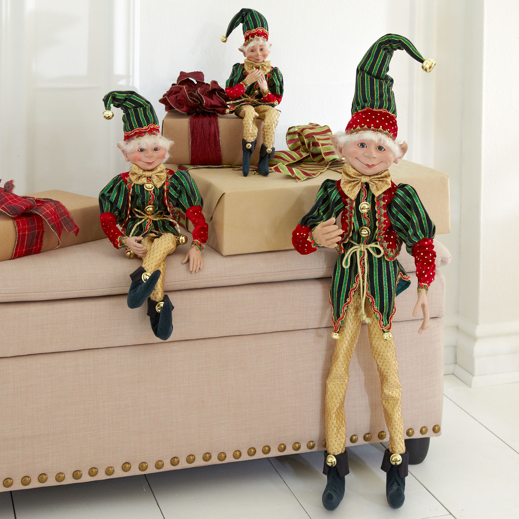 "21""H Posable Christmas Elf , RED GREEN GOLD"