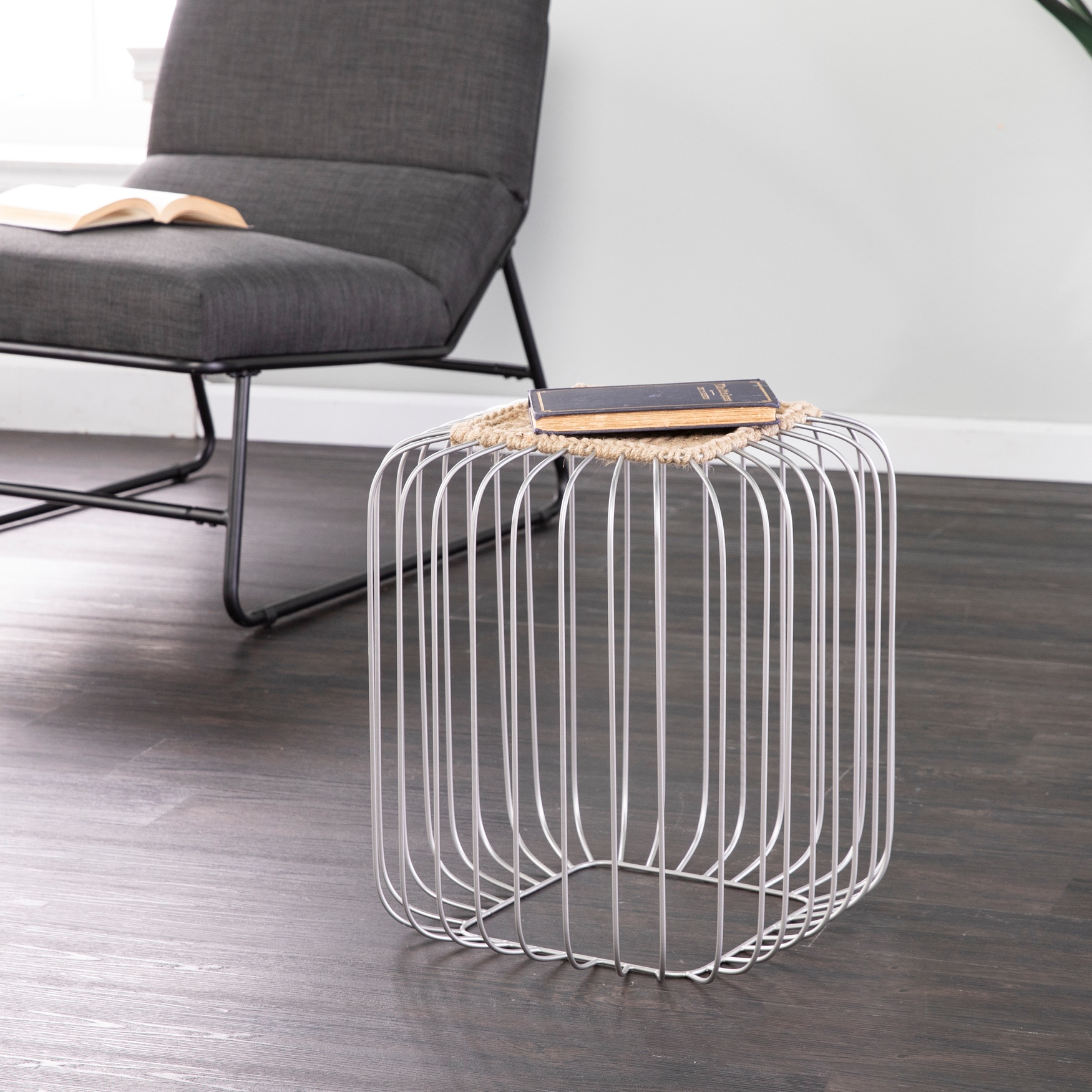 Holly & Martin Kochi Jute Accent Table, SILVER