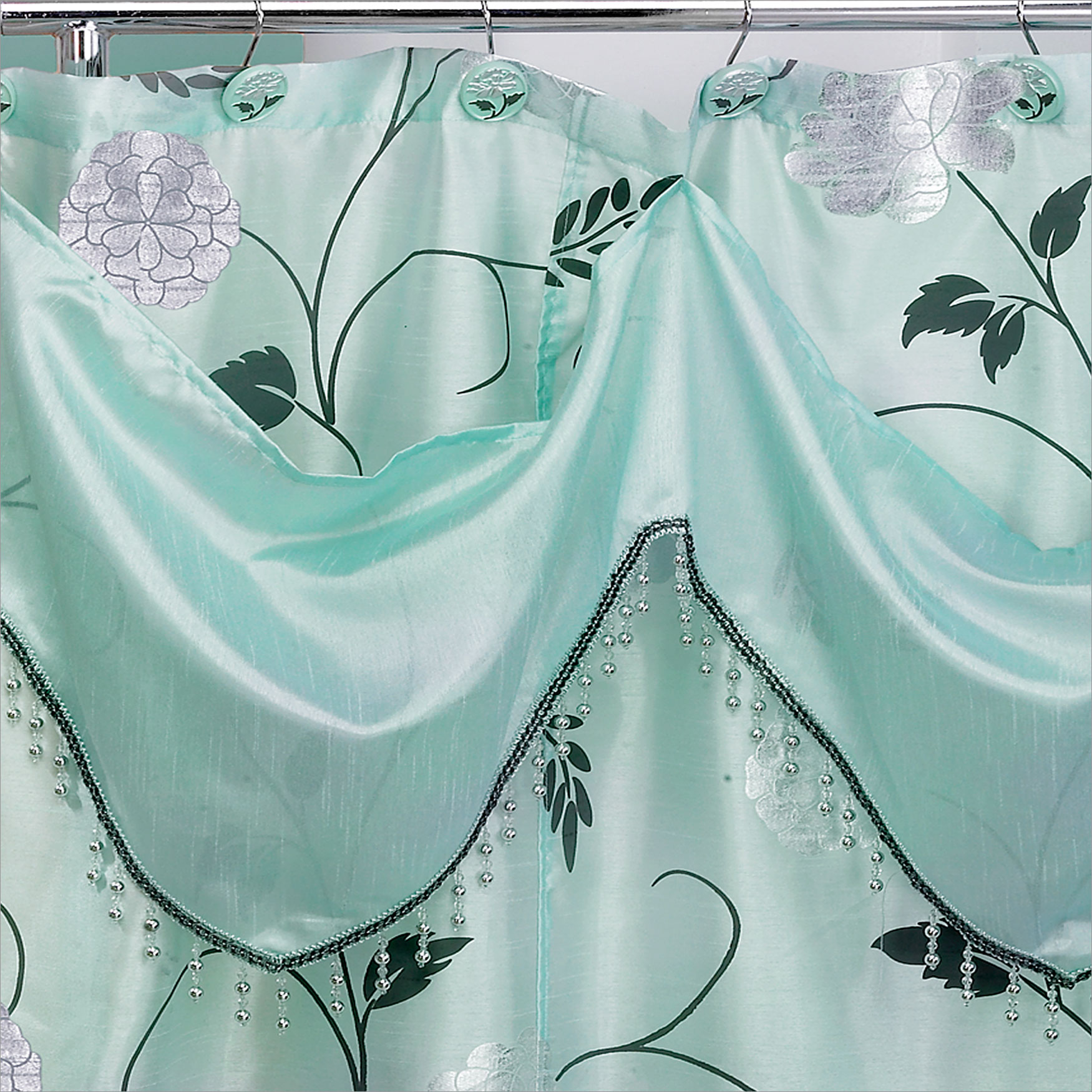 Shower Curtain with Attached Valance, 72'x70', AQUA