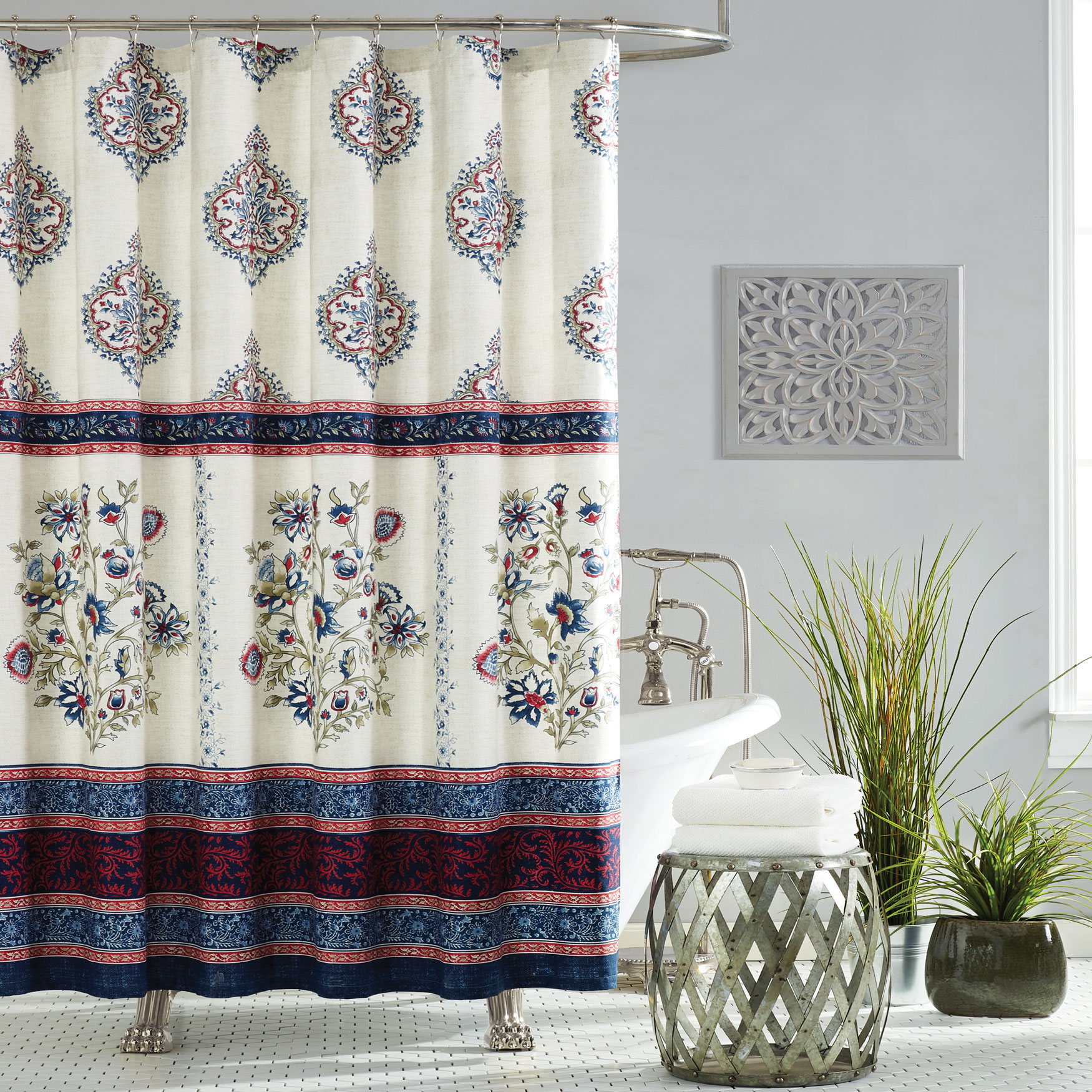 Jessica Simpson Verbena Shower Curtain, BLUE MULTI