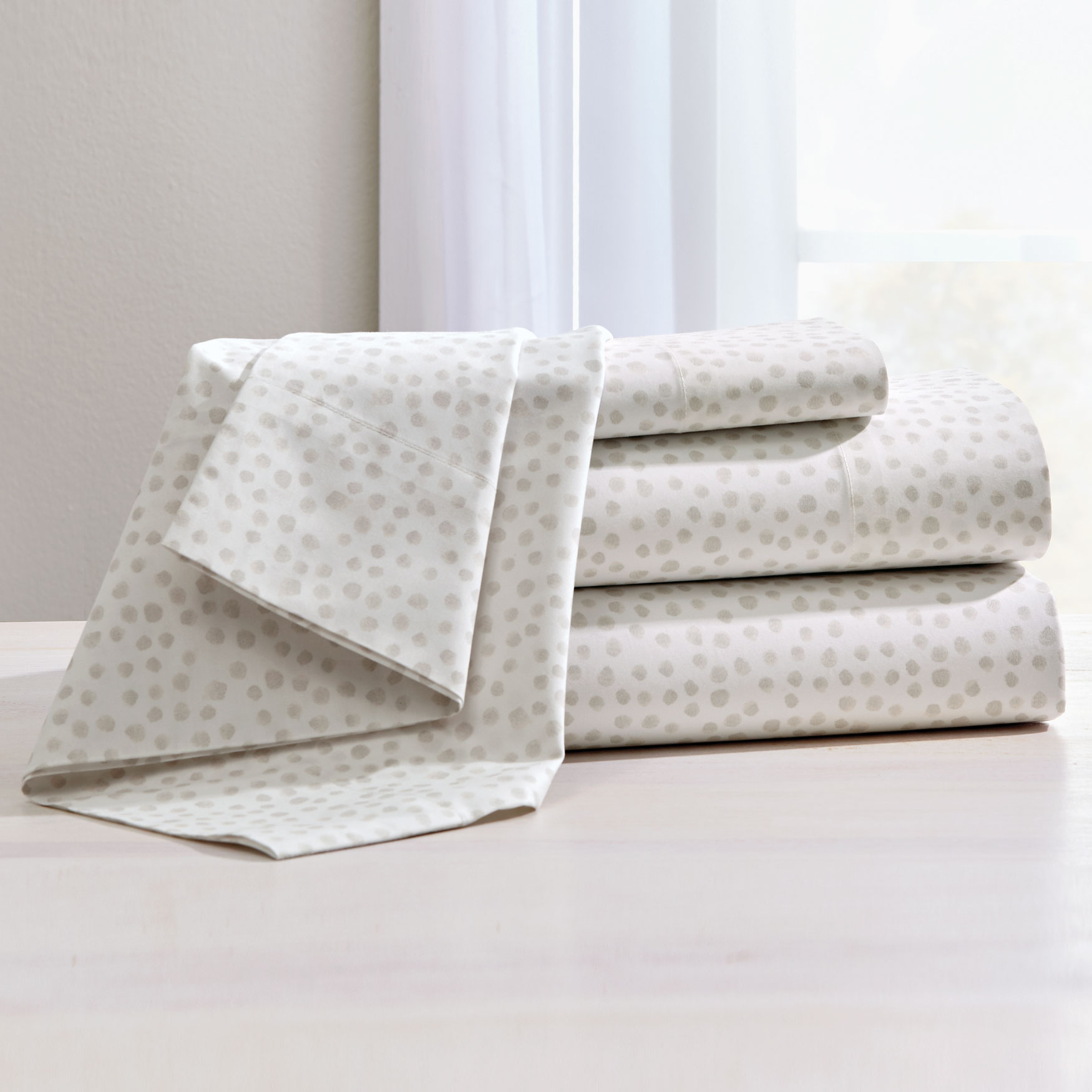 200-TC Percale Dot Sheet Set ,