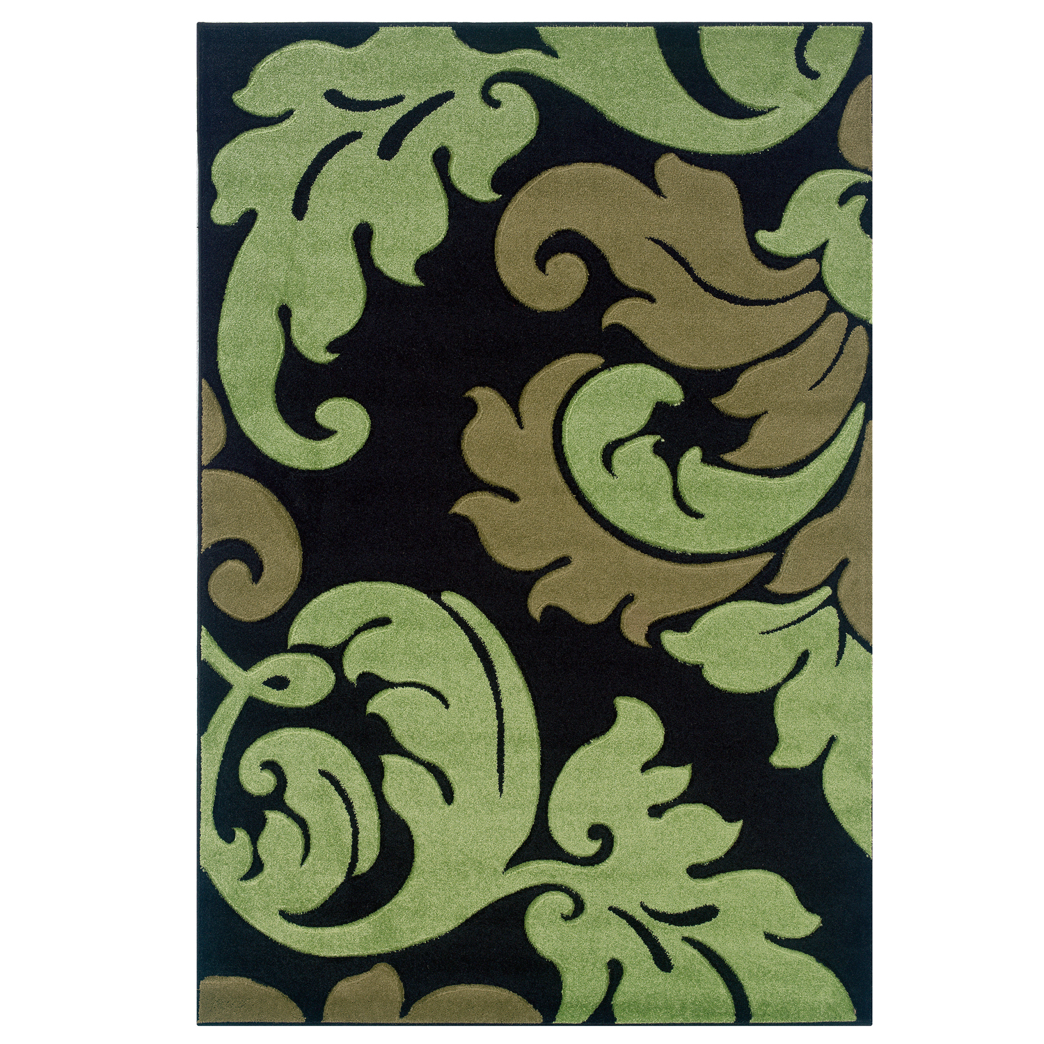 Corfu Black/Green 2'x3' Area Rug , BLACK