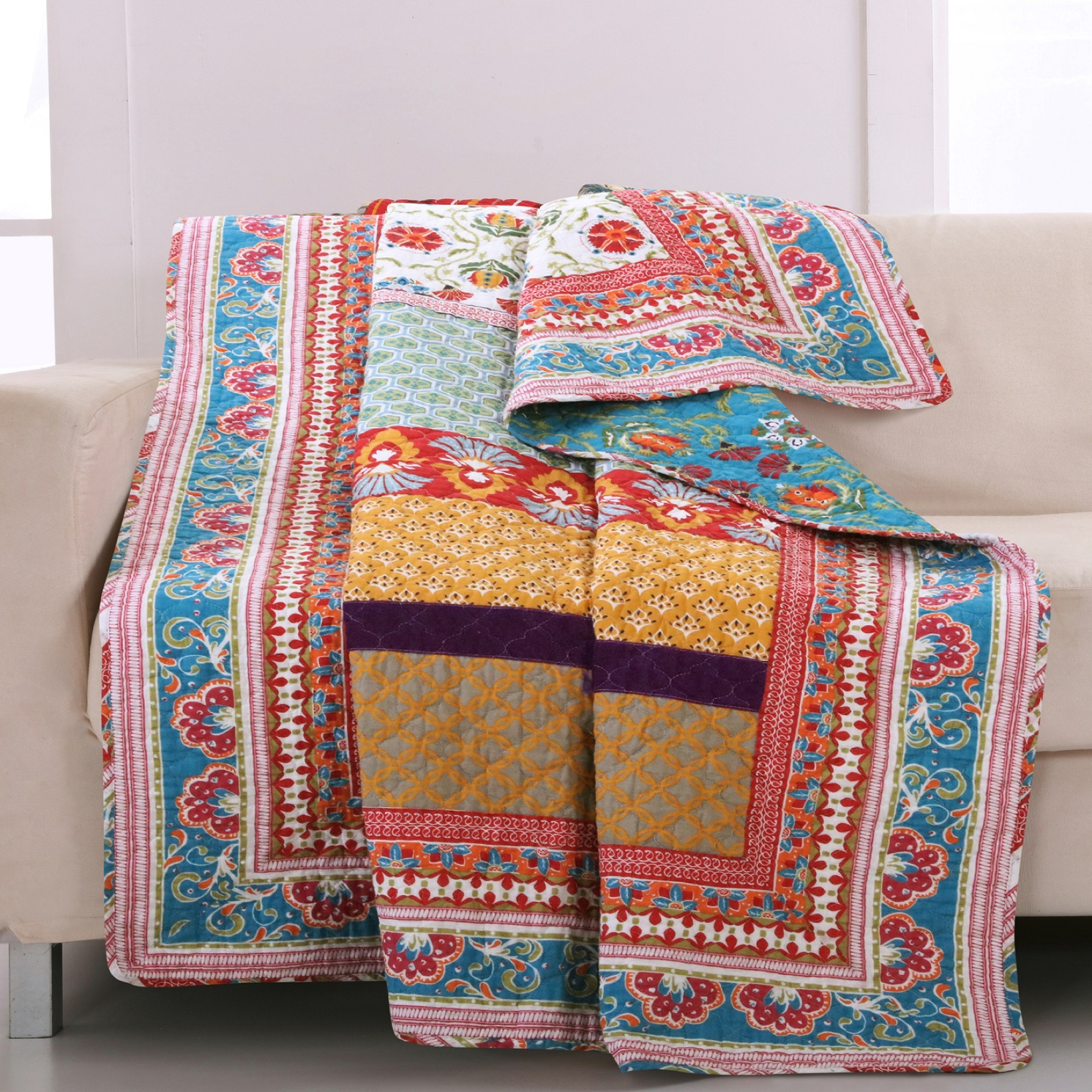 Greenland Home Fashions Thalia Quilted Throw Blanket, MULTI