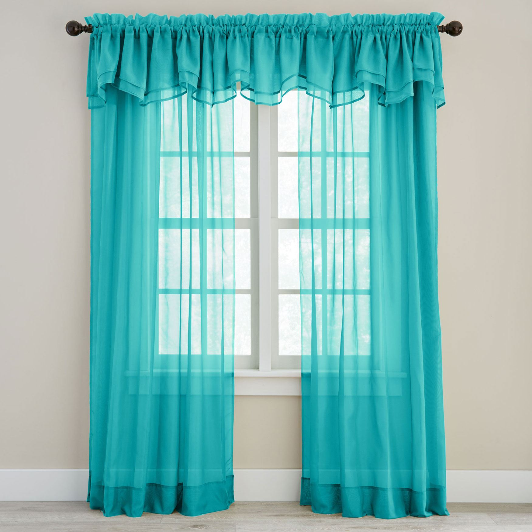 BH Studio Sheer Voile Layered Valance, PEACOCK
