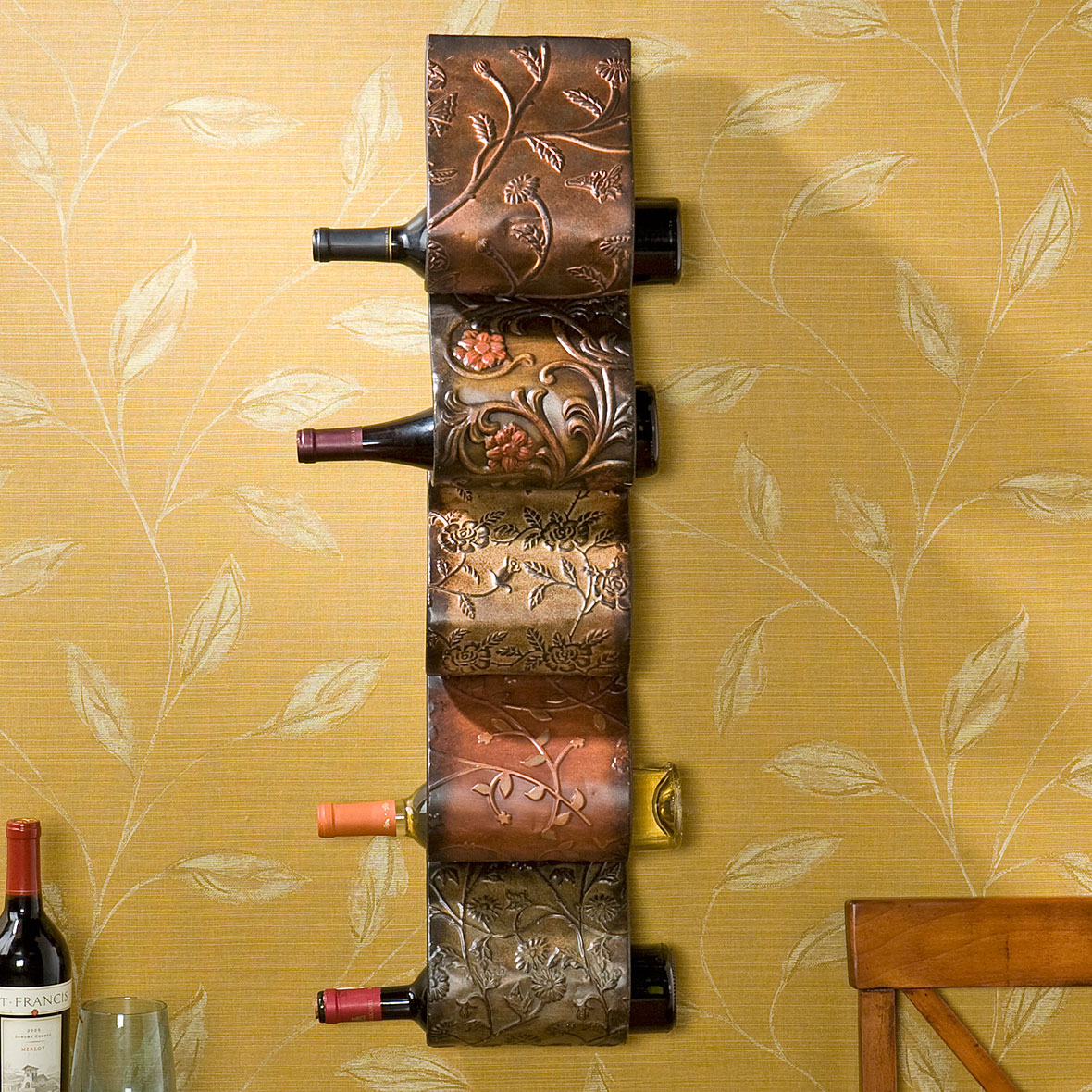 Florenz Wall Mount Wine Storage, HAND PAINTED