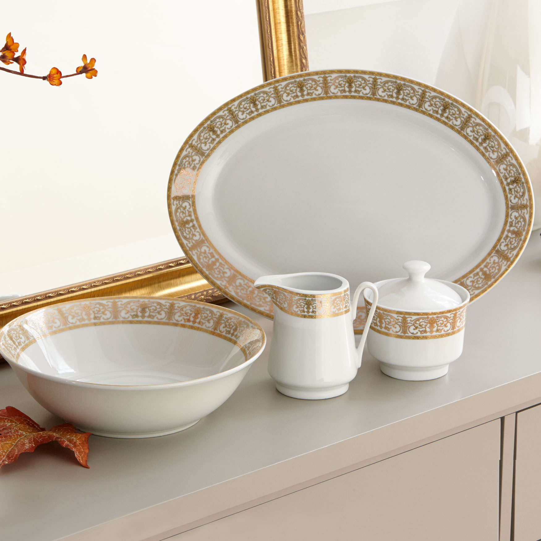 Medici 5-Pc. Porcelain Completer Set, GOLD WHITE
