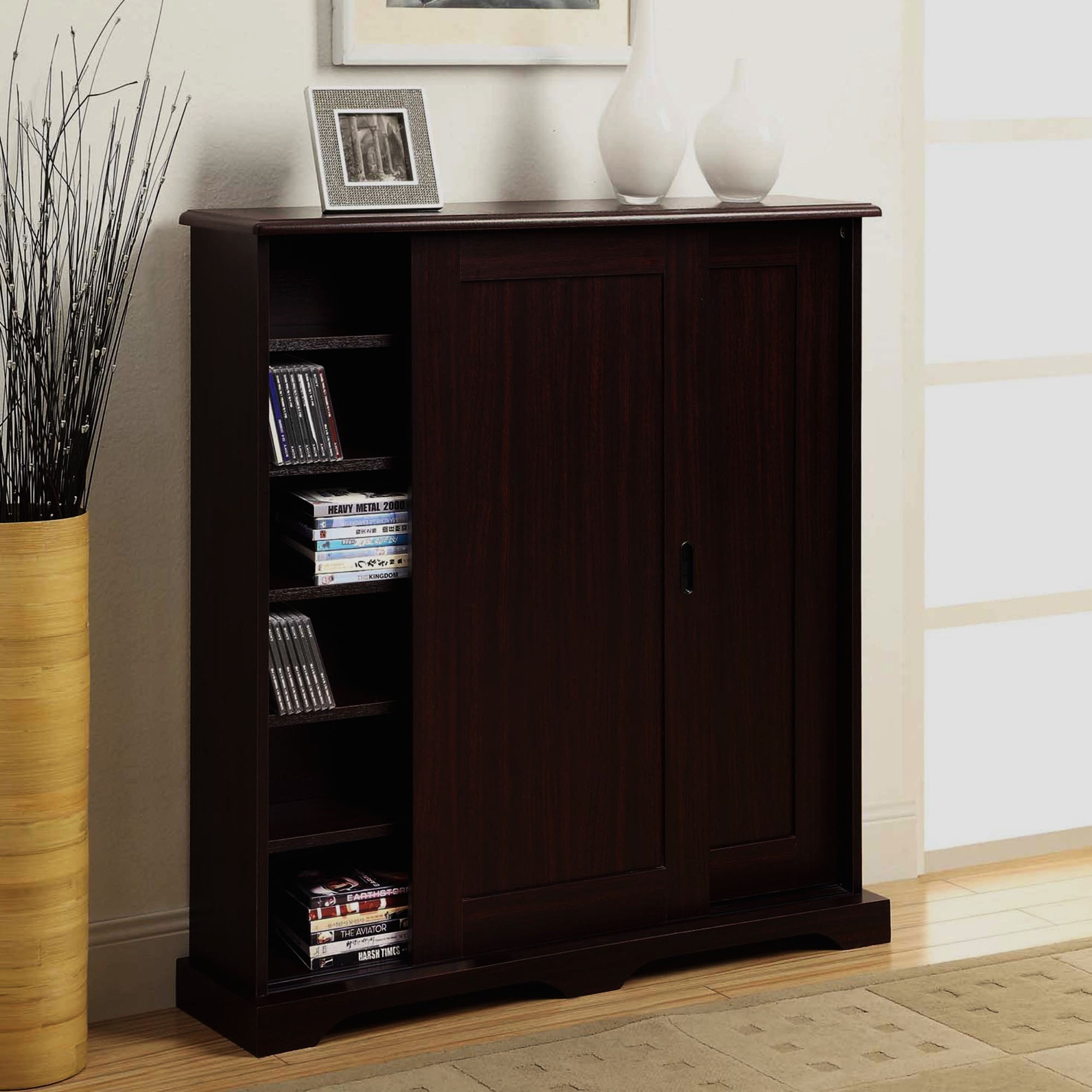 Sliding Door Multimedia Stand by 4D Concepts, DARK CHERRY