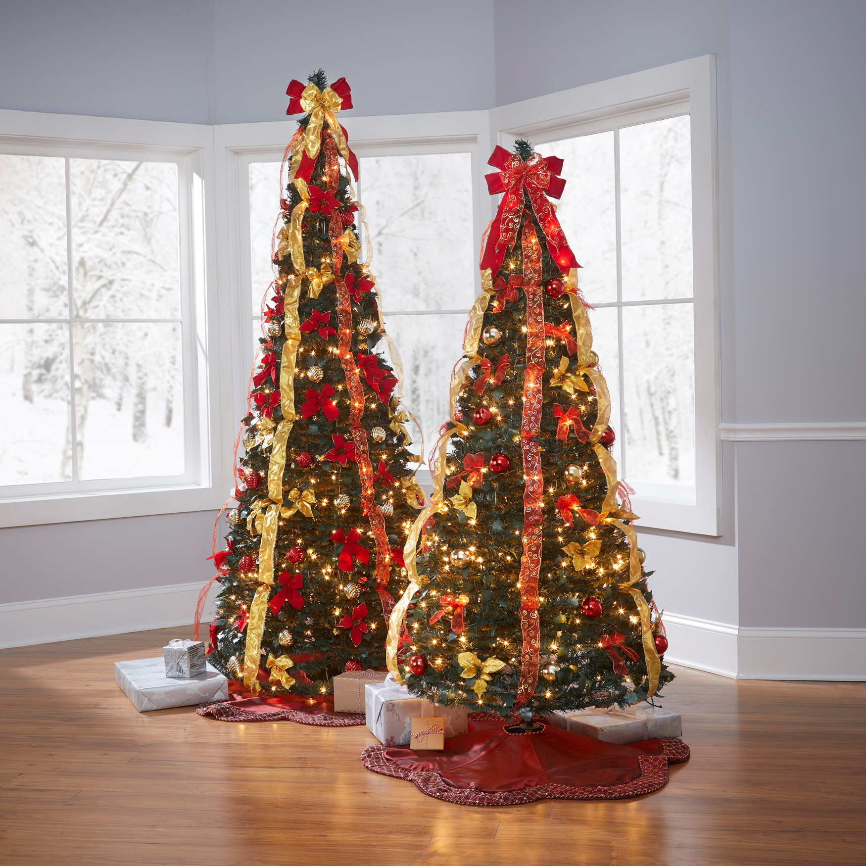 Flat-To-Fabulous Fully Decorated, Pre-Lit 6-Ft. Christmas Tree ...