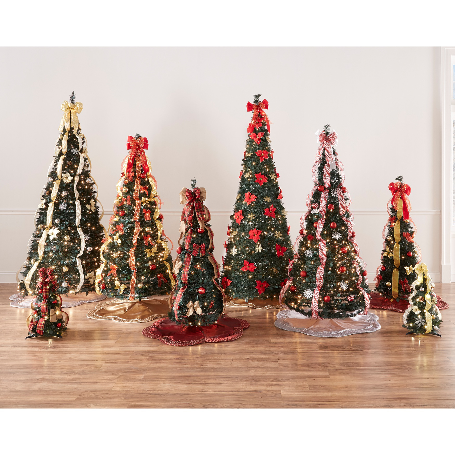 flat to fabulous fully decorated pre lit 6 ft christmas - Christmas Tree With White Lights And Red Decorations
