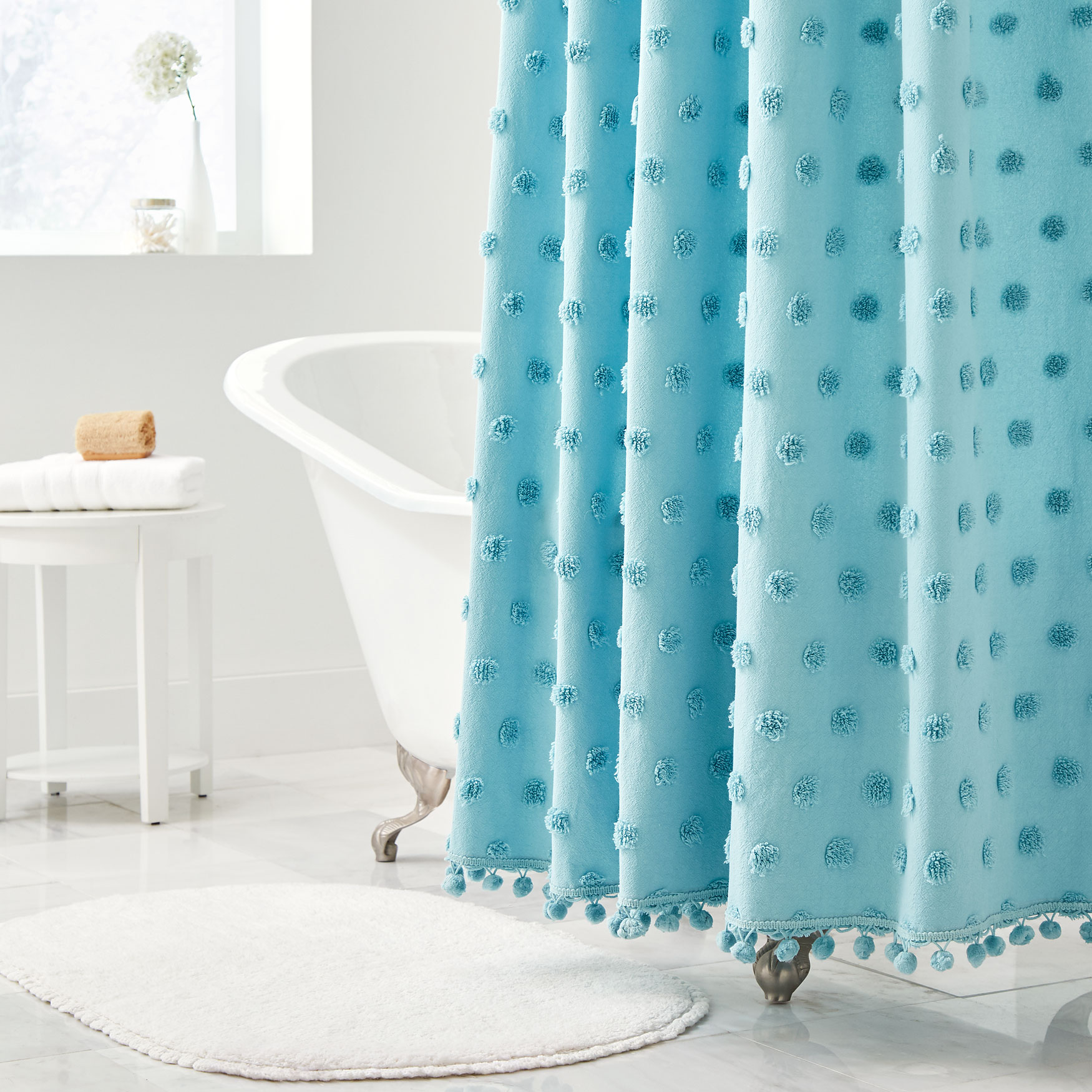 Dot Cotton Tufted Shower Curtain BLUE