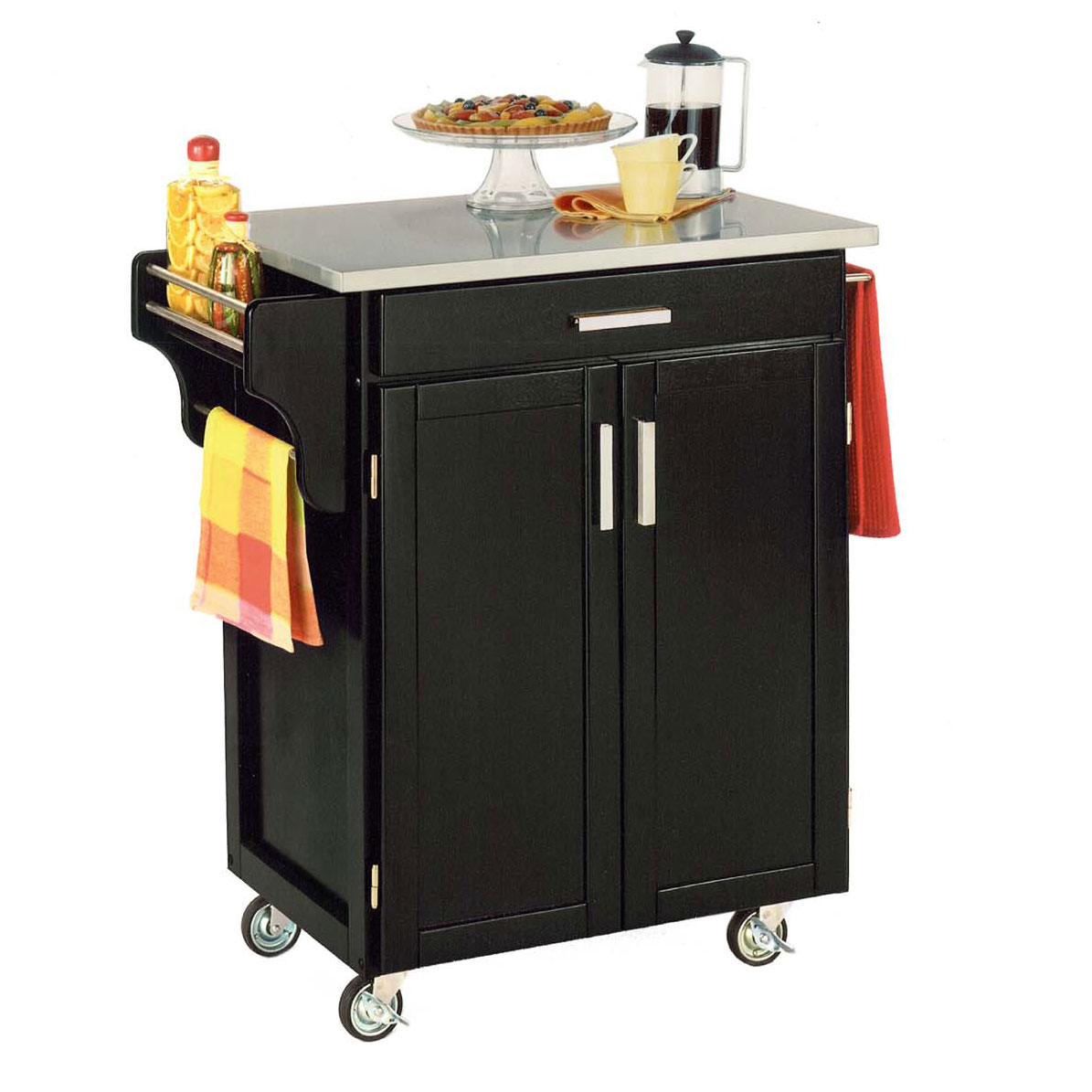 Black Finish Create a Cart with Stainless Steel Top, BLACK STAINLESS STEEL