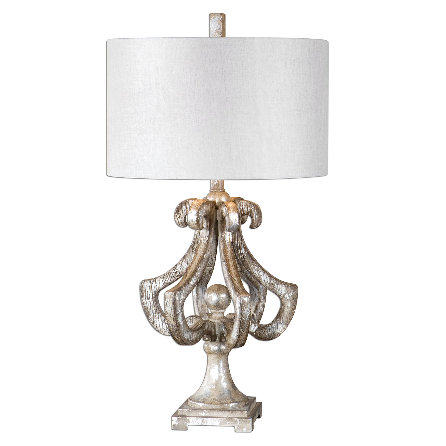Vinadio Distressed Silver Table Lamp, SILVER