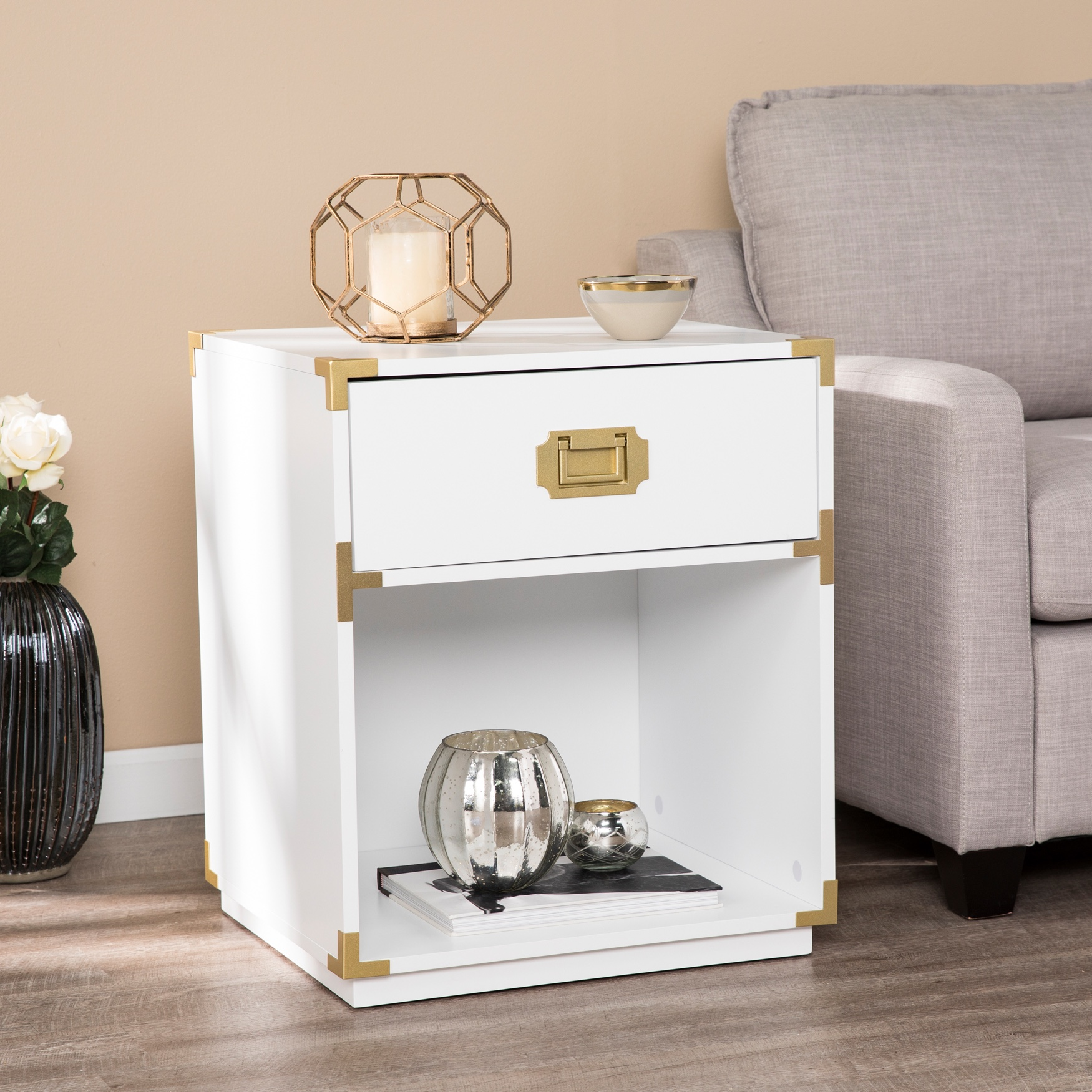Campaign Tall Storage Side Table with Drawer, WHITE