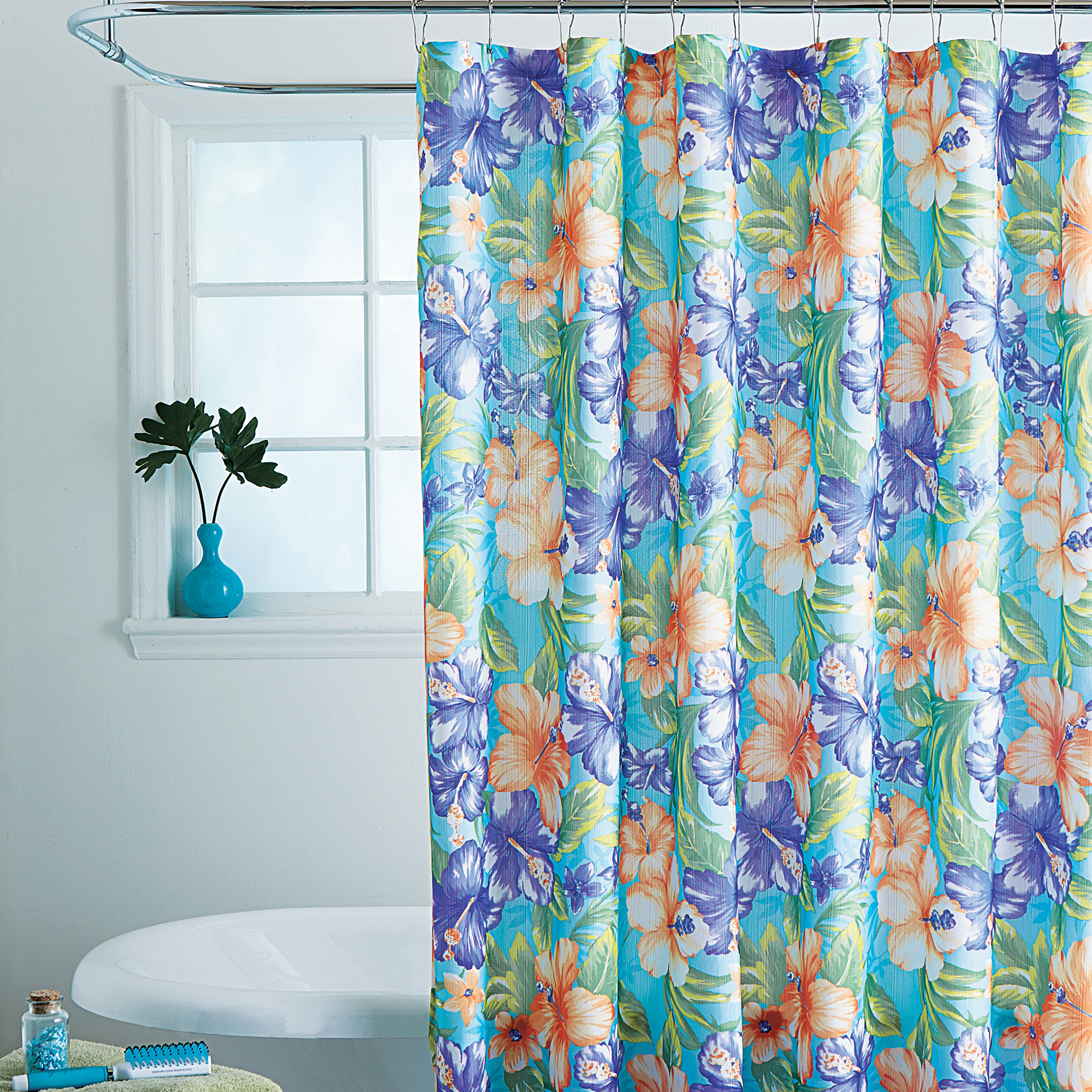 Caribbean Joe 14 Pc Shower Curtain Sets HIBISCUS