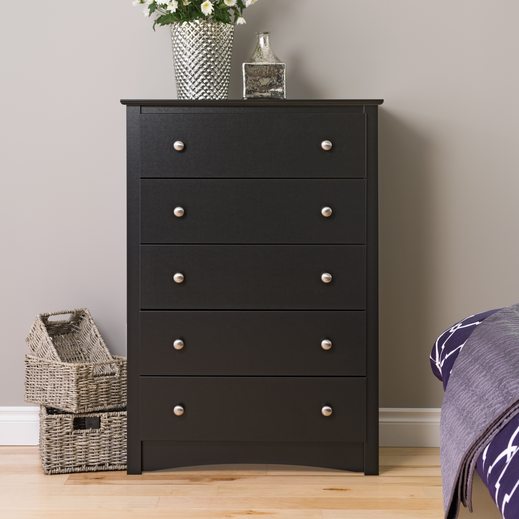 Sonoma 5-Drawer Chest, Black, BLACK