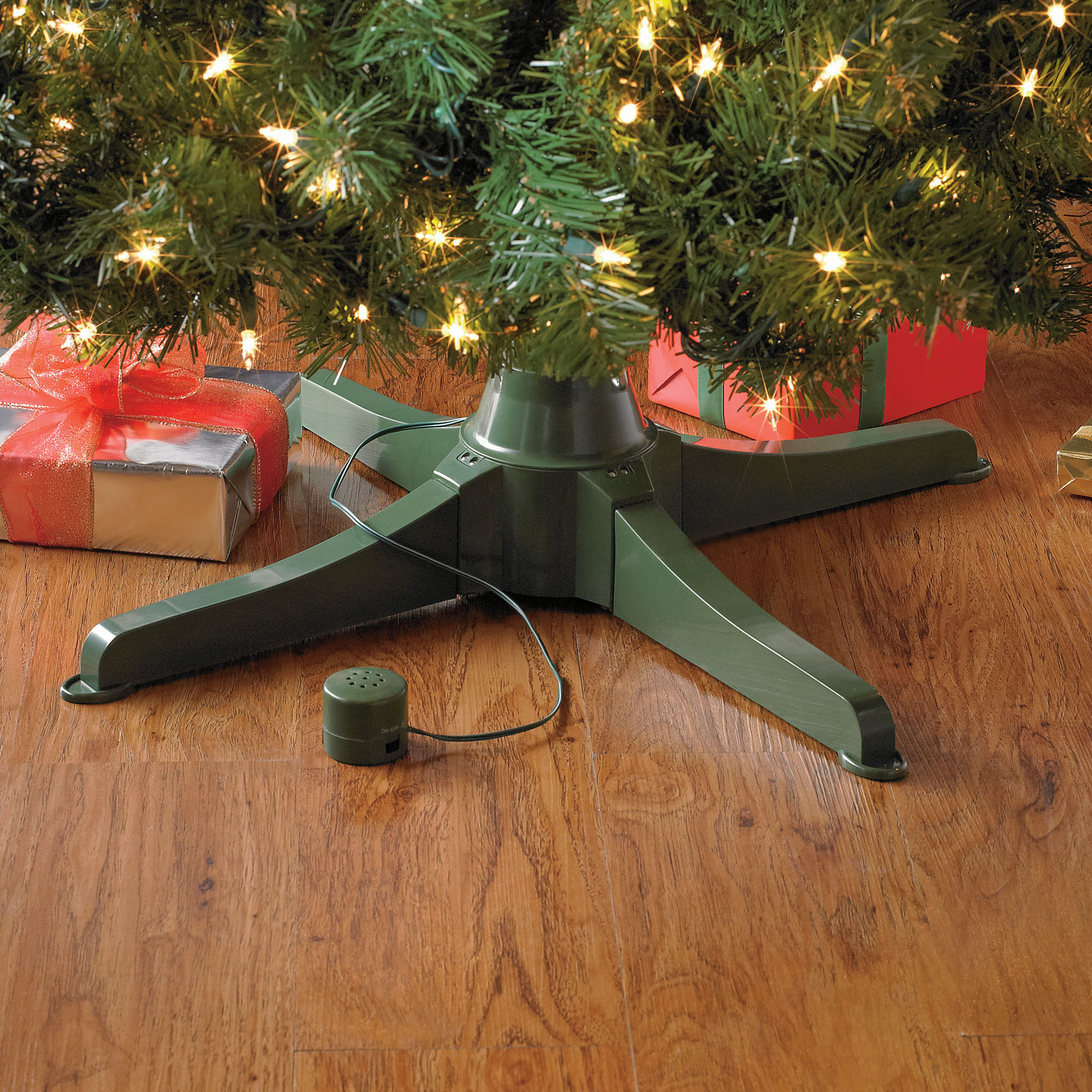 musical rotating christmas tree stand green