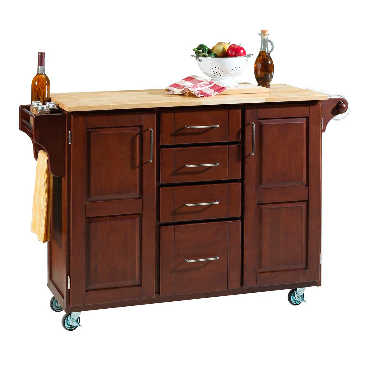 Large Cherry Finish Create a Cart with Wood Top, CHERRY WOOD