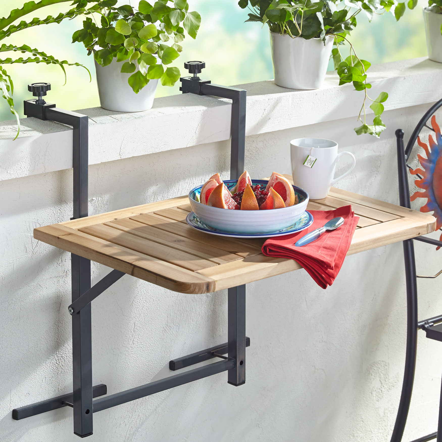 Wood Balcony Folding Table, NATURAL